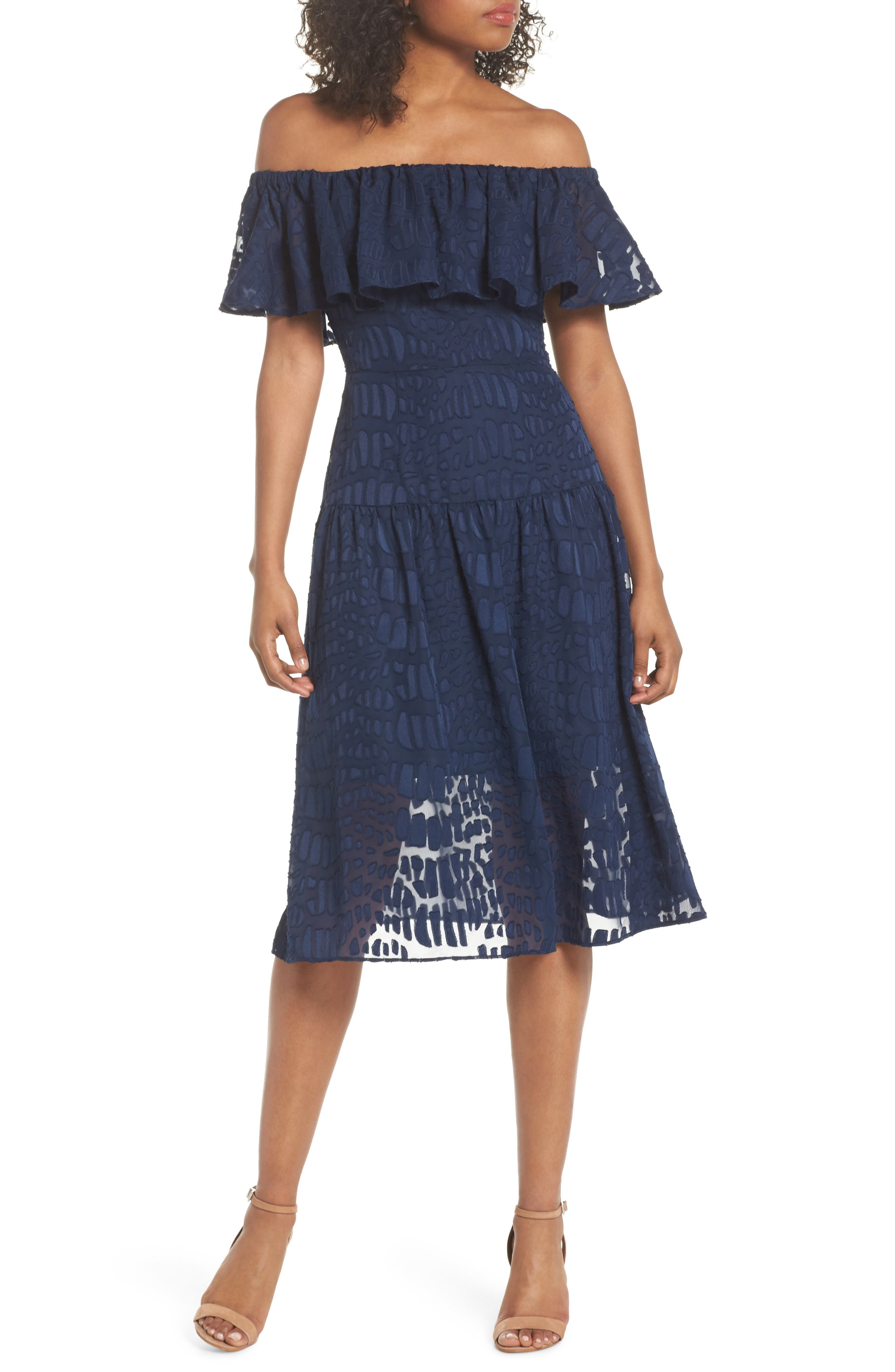 Into the Pines Off the Shoulder Dress,                         Main,                         color, Navy