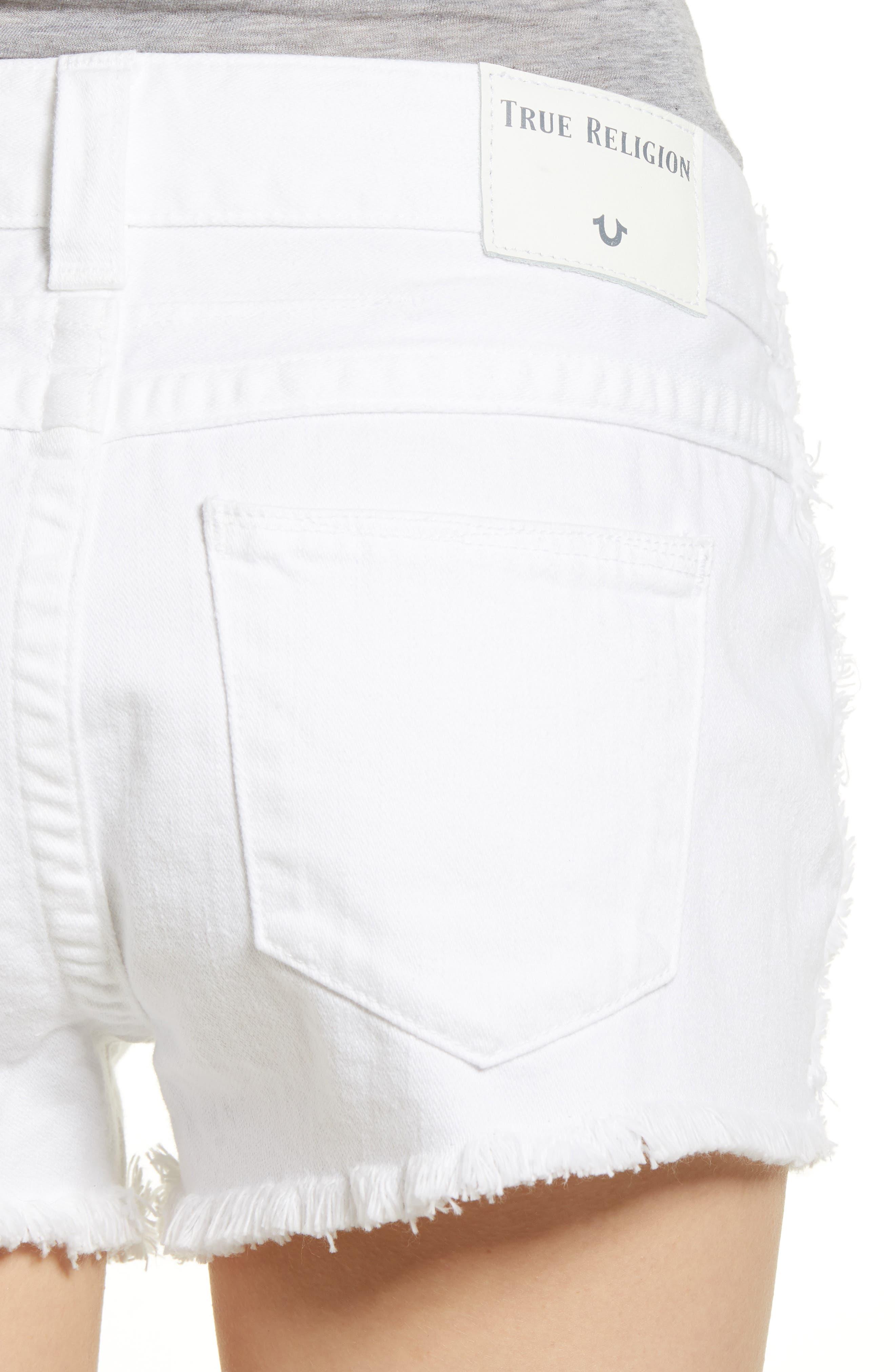 Kieras Cutoff Denim Shorts,                             Alternate thumbnail 4, color,                             Eucd Optic White