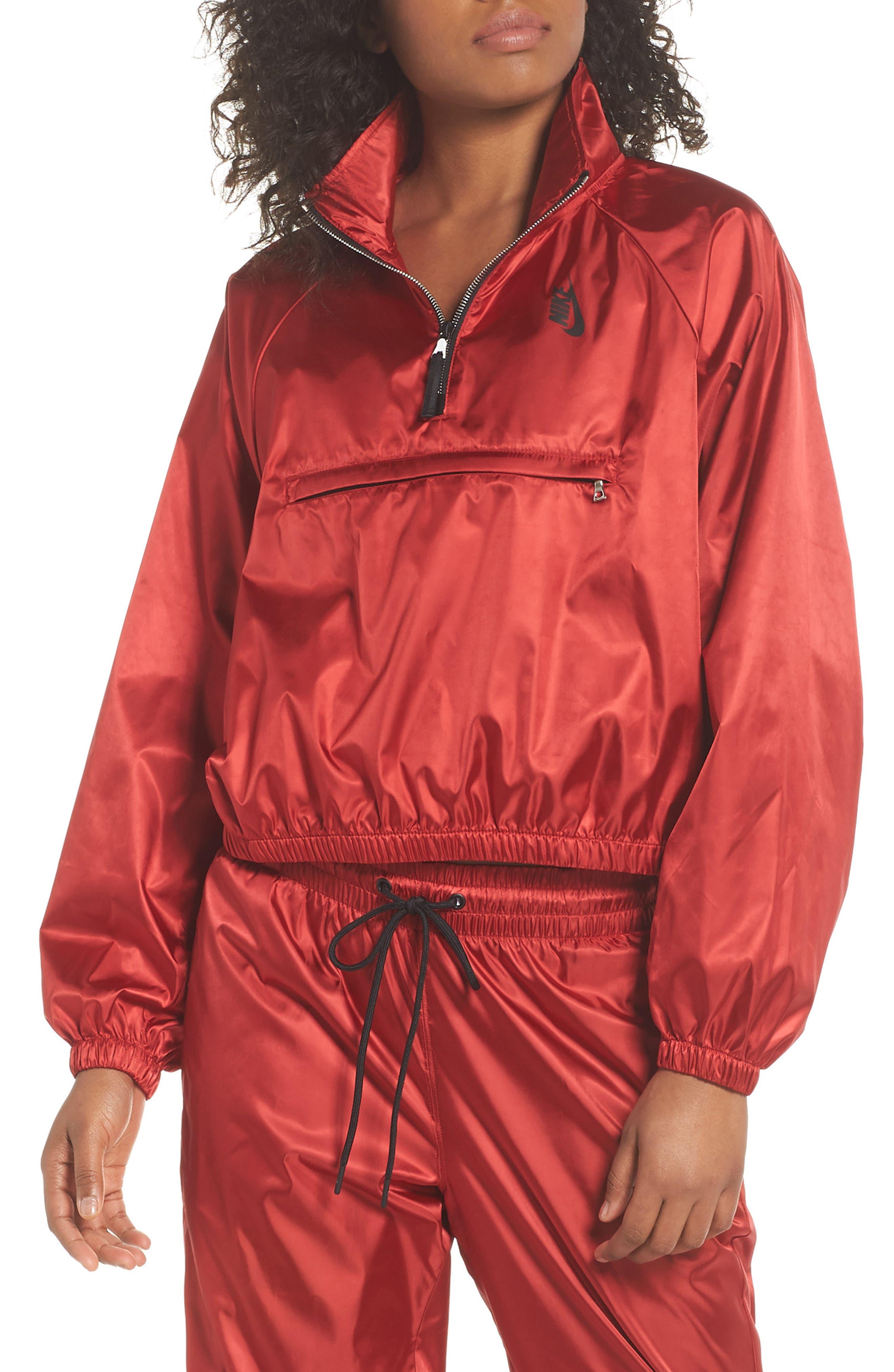NikeLab Collection Satin Half Zip Top,                         Main,                         color, Gym Red/ Black