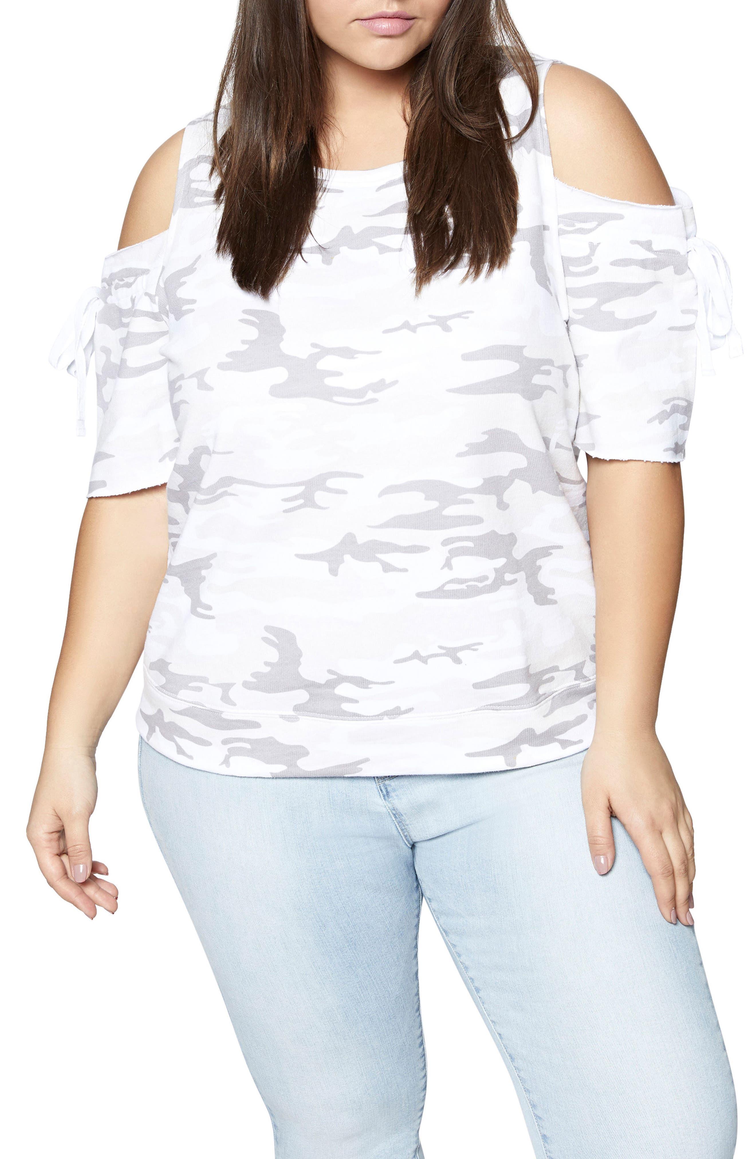 Cold Shoulder Camo Sweatshirt Tee,                         Main,                         color, White Camo