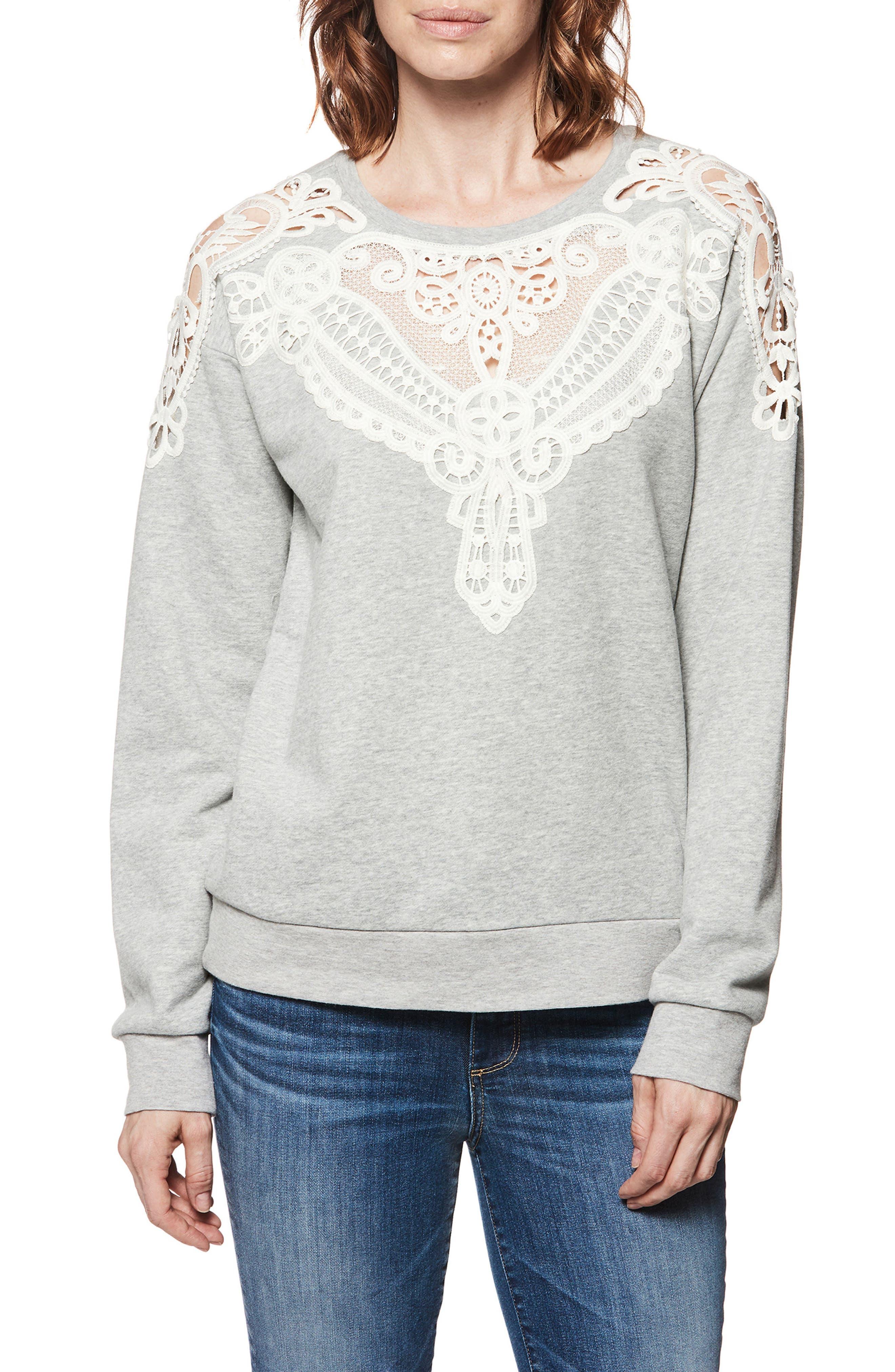 Eilise Crochet Detail Sweatshirt,                             Main thumbnail 1, color,                             Heather Grey