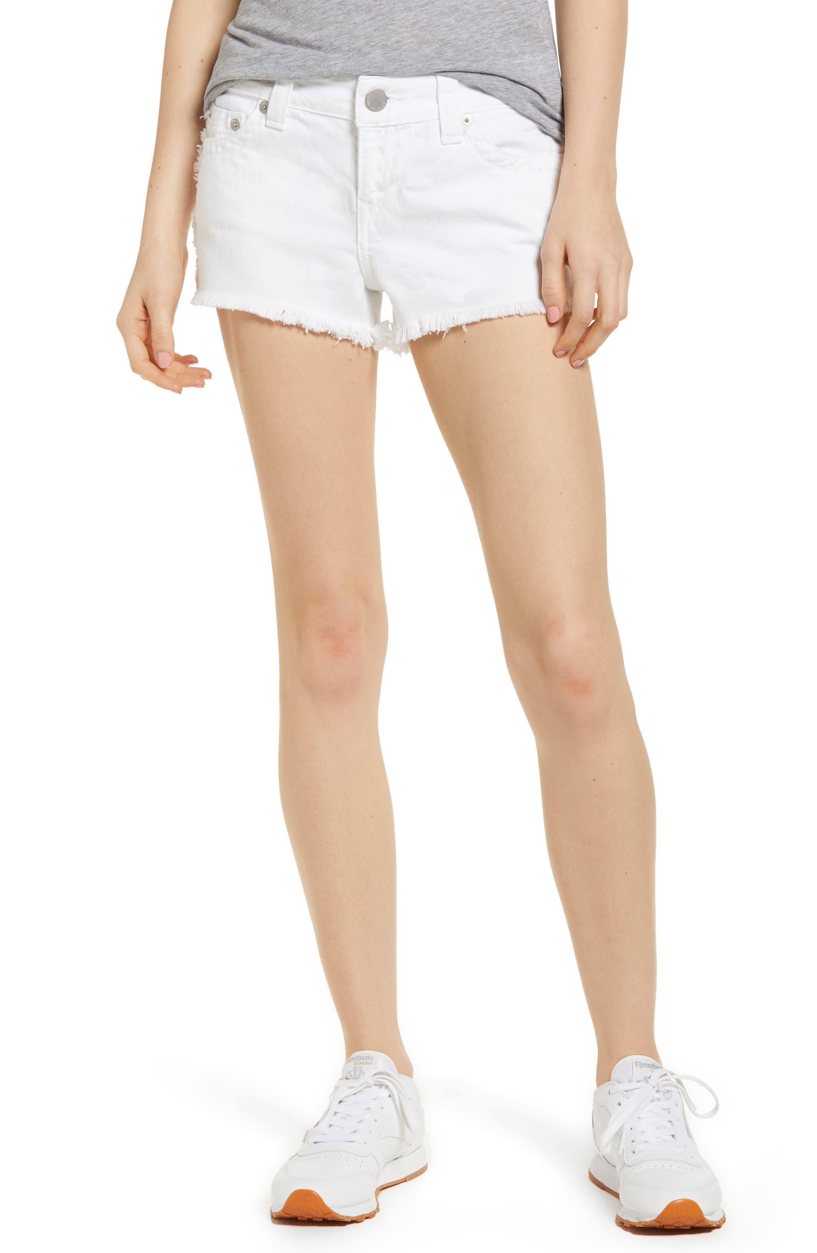 Kieras Cutoff Denim Shorts,                         Main,                         color, Eucd Optic White