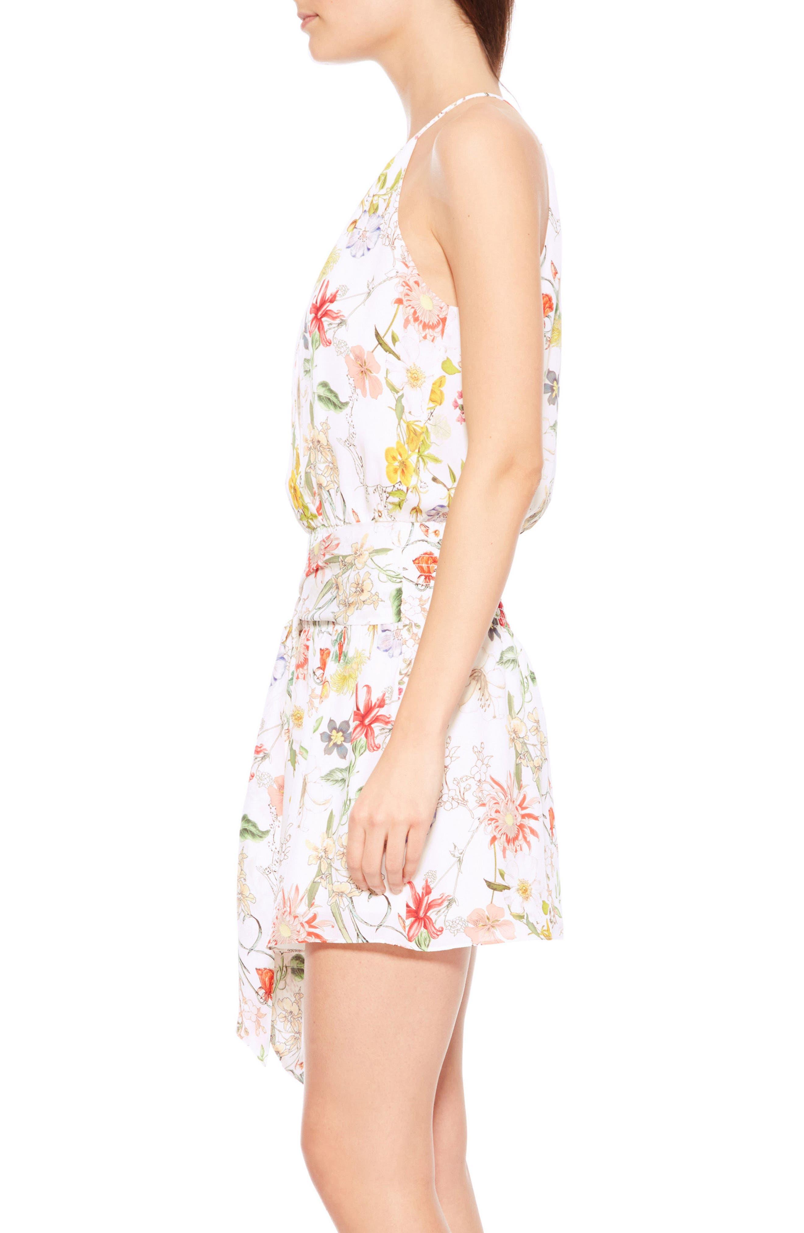 Larissa Floral Silk Dress,                             Alternate thumbnail 3, color,                             Sangria