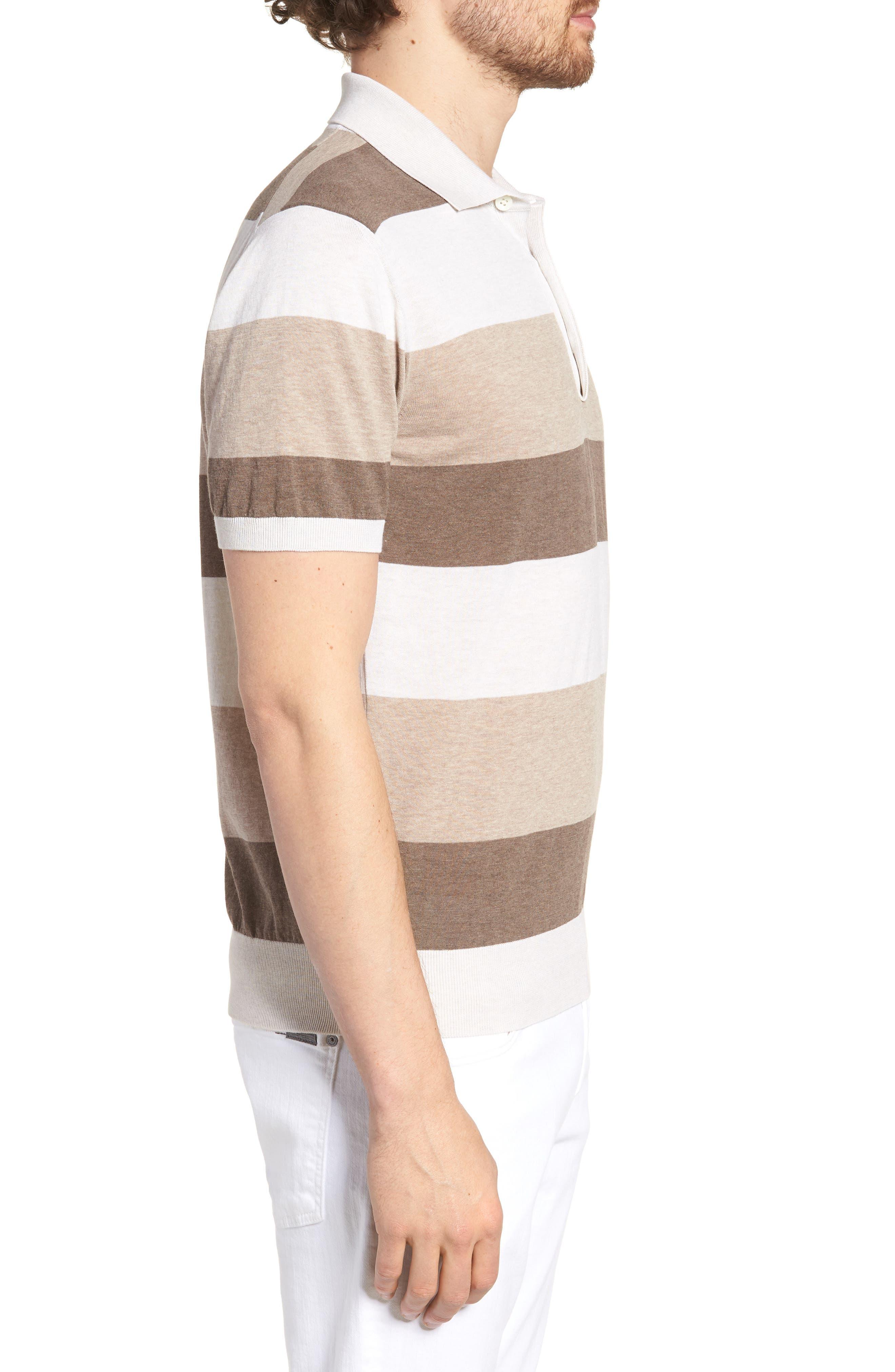 Stripe Polo Shirt,                             Alternate thumbnail 3, color,                             Brown