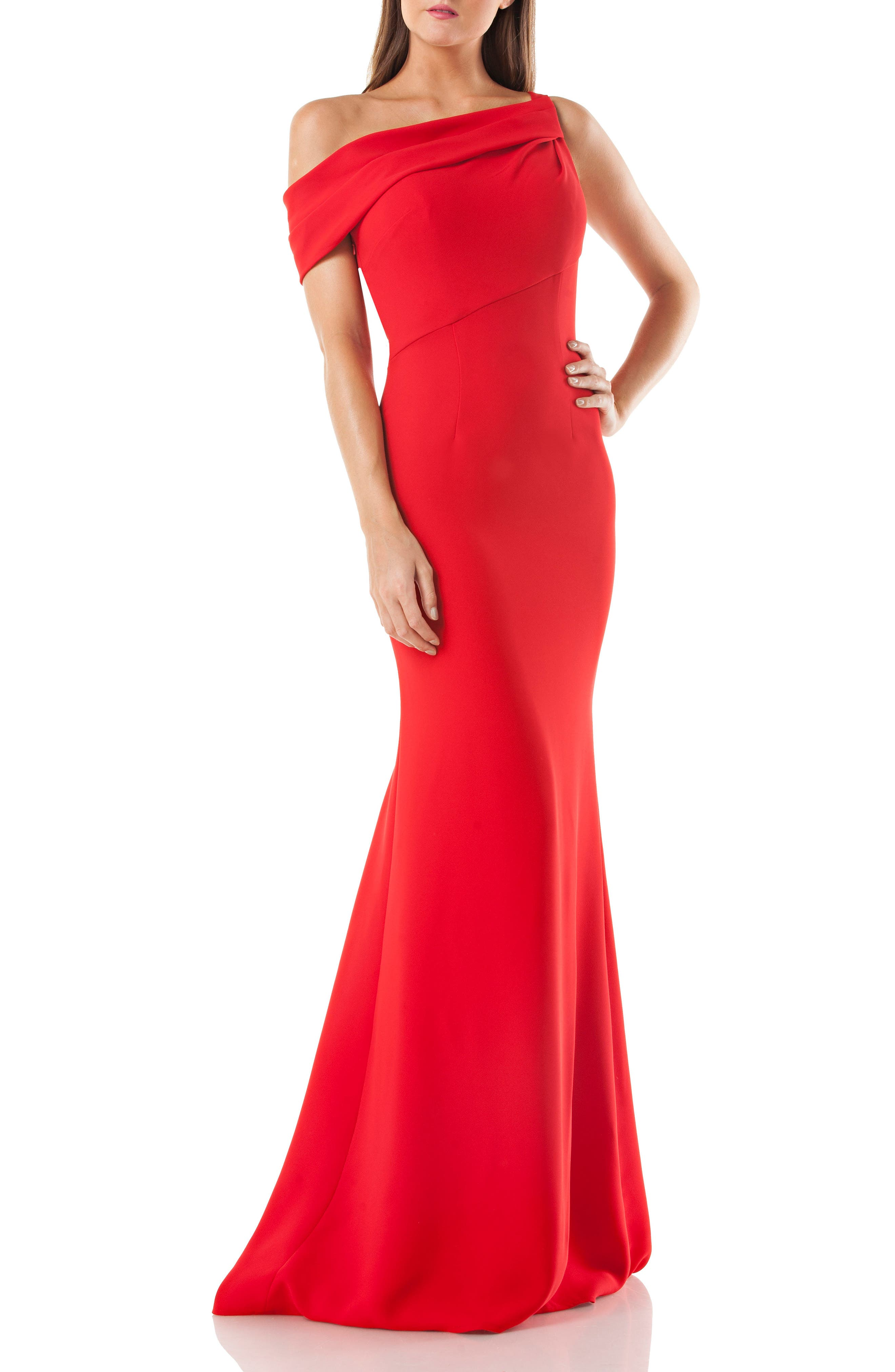 Alternate Image 1 Selected - Carmen Marc Valvo Infusion One-Shoulder Trumpet Gown
