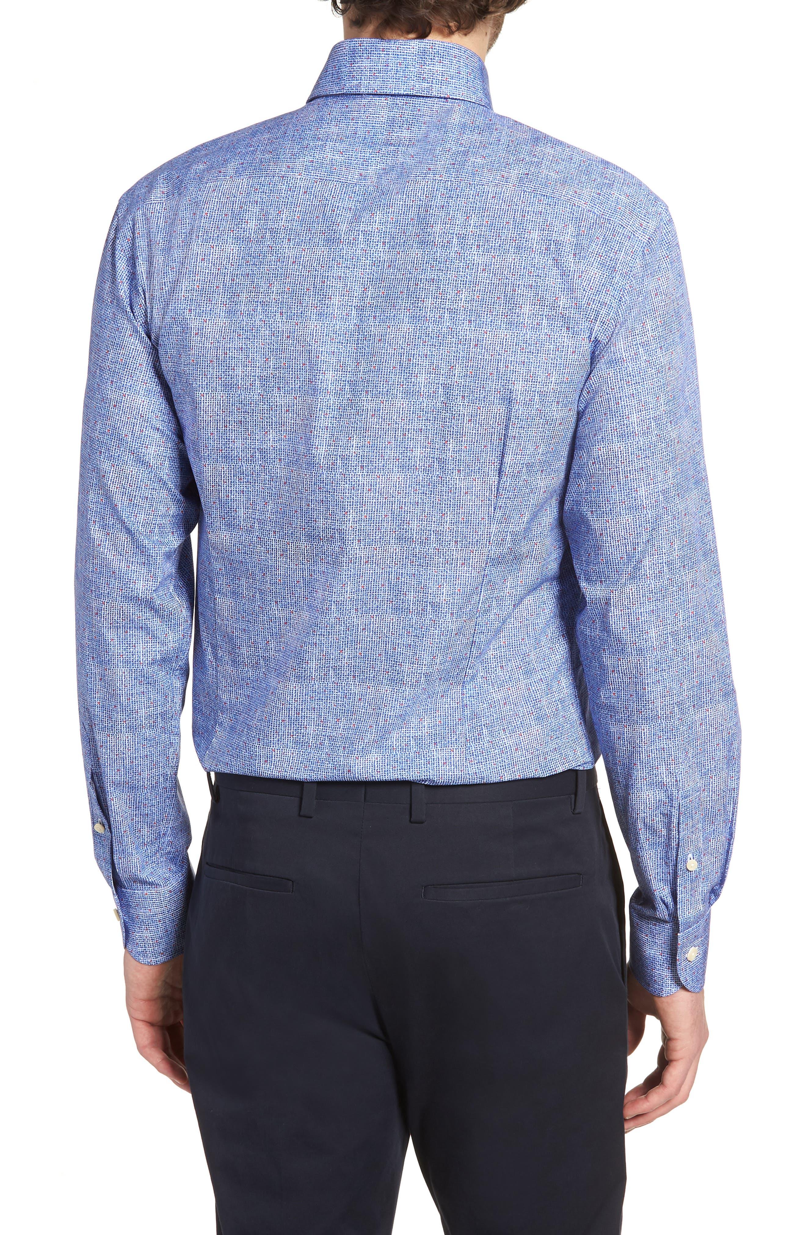 Normand Slim Fit Check Dress Shirt,                             Alternate thumbnail 3, color,                             Blue