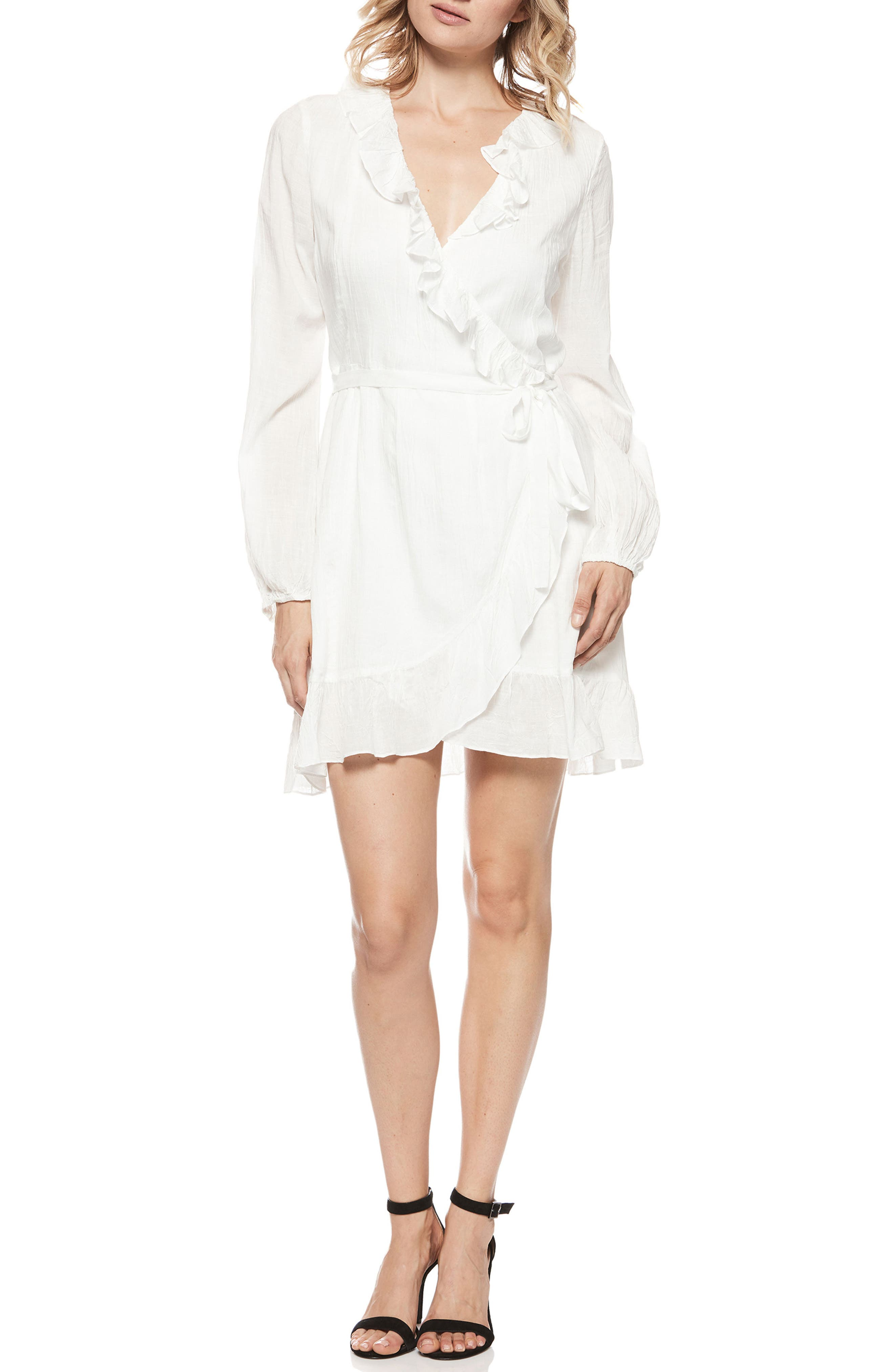 Shawna Wrap Dress,                             Main thumbnail 1, color,                             White