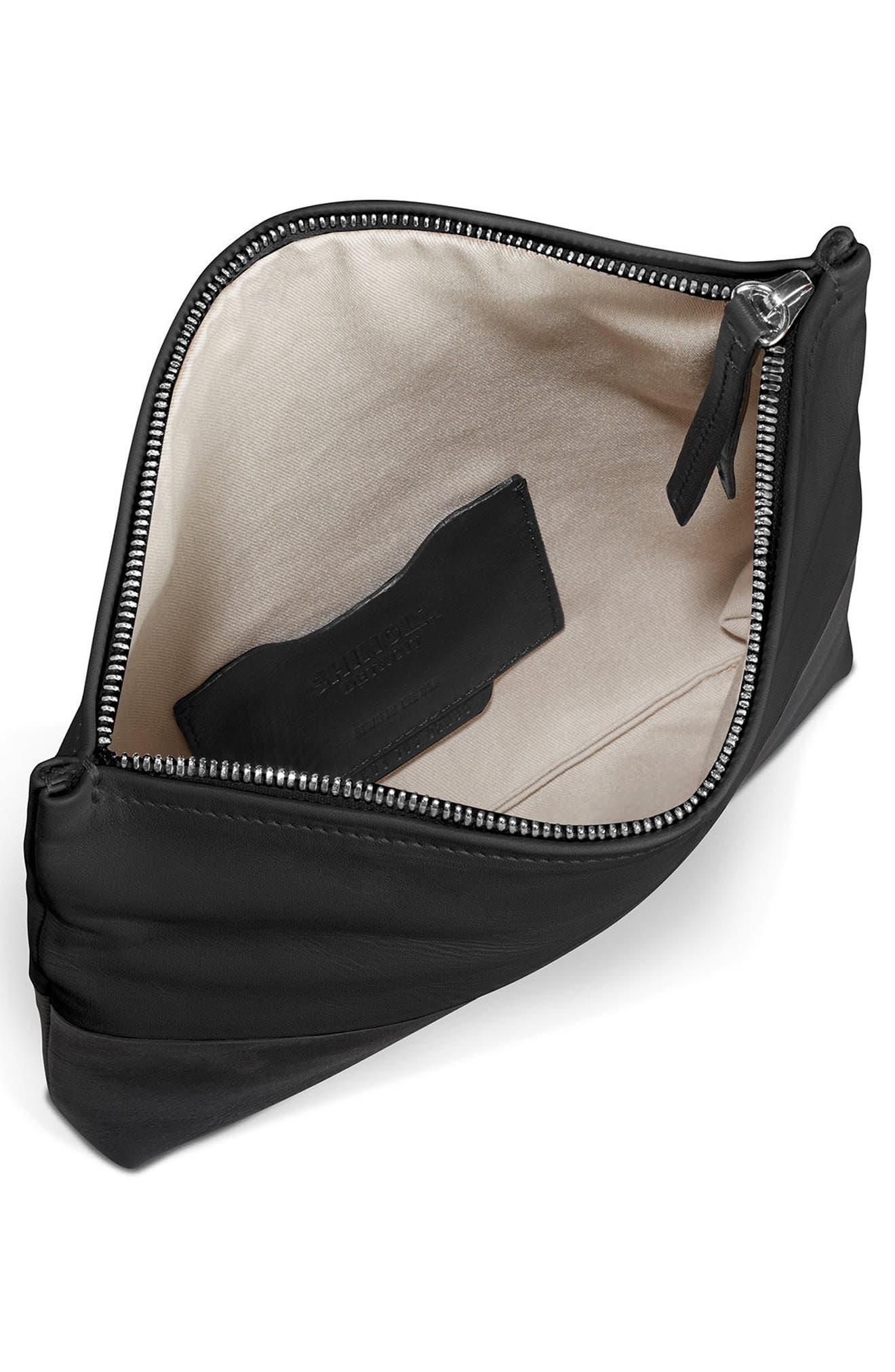 Birdy Leather Foldover Clutch,                             Alternate thumbnail 3, color,                             Black