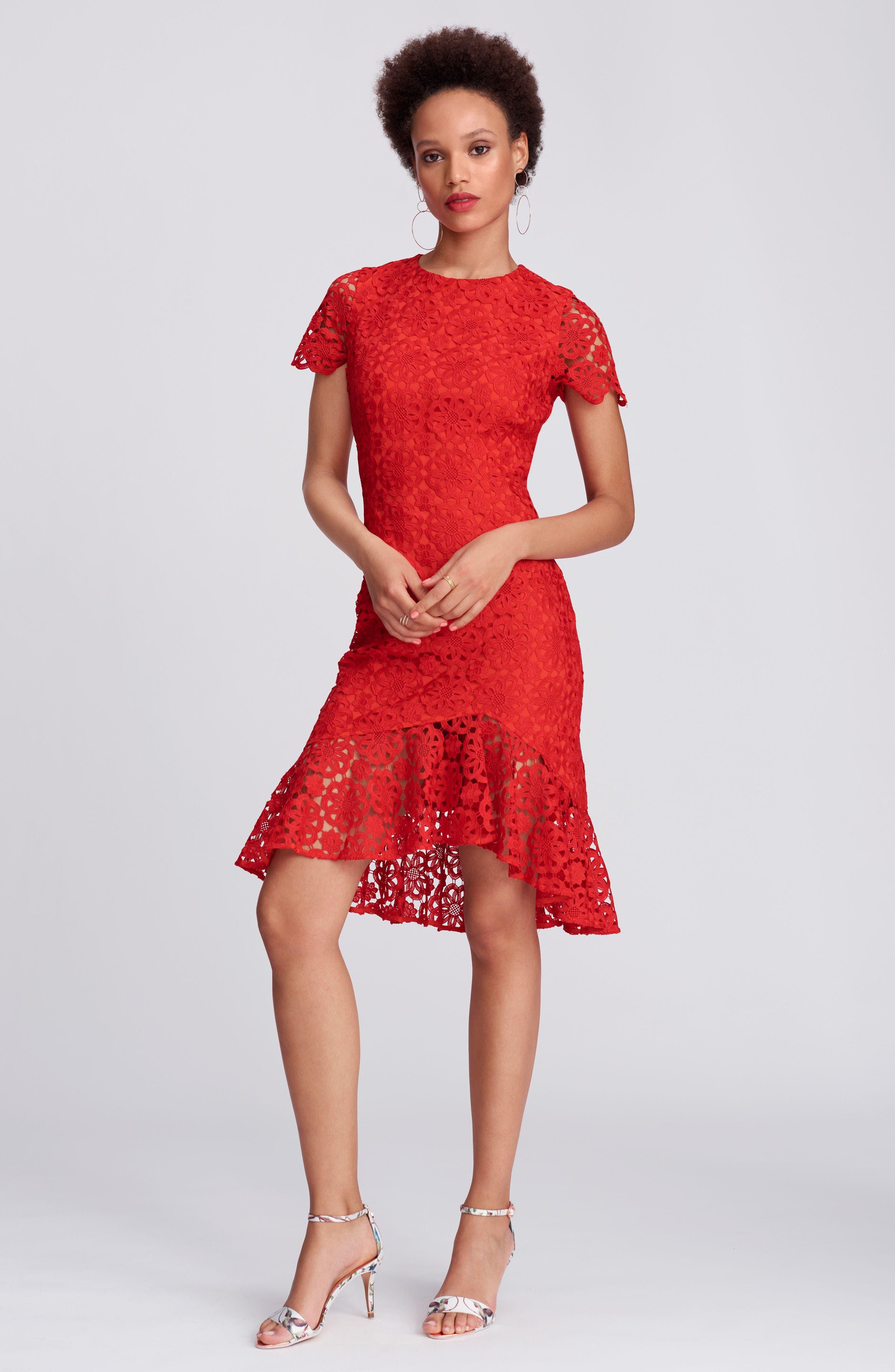 Ruffle Hem Lace Sheath Dress,                             Alternate thumbnail 2, color,                             Red