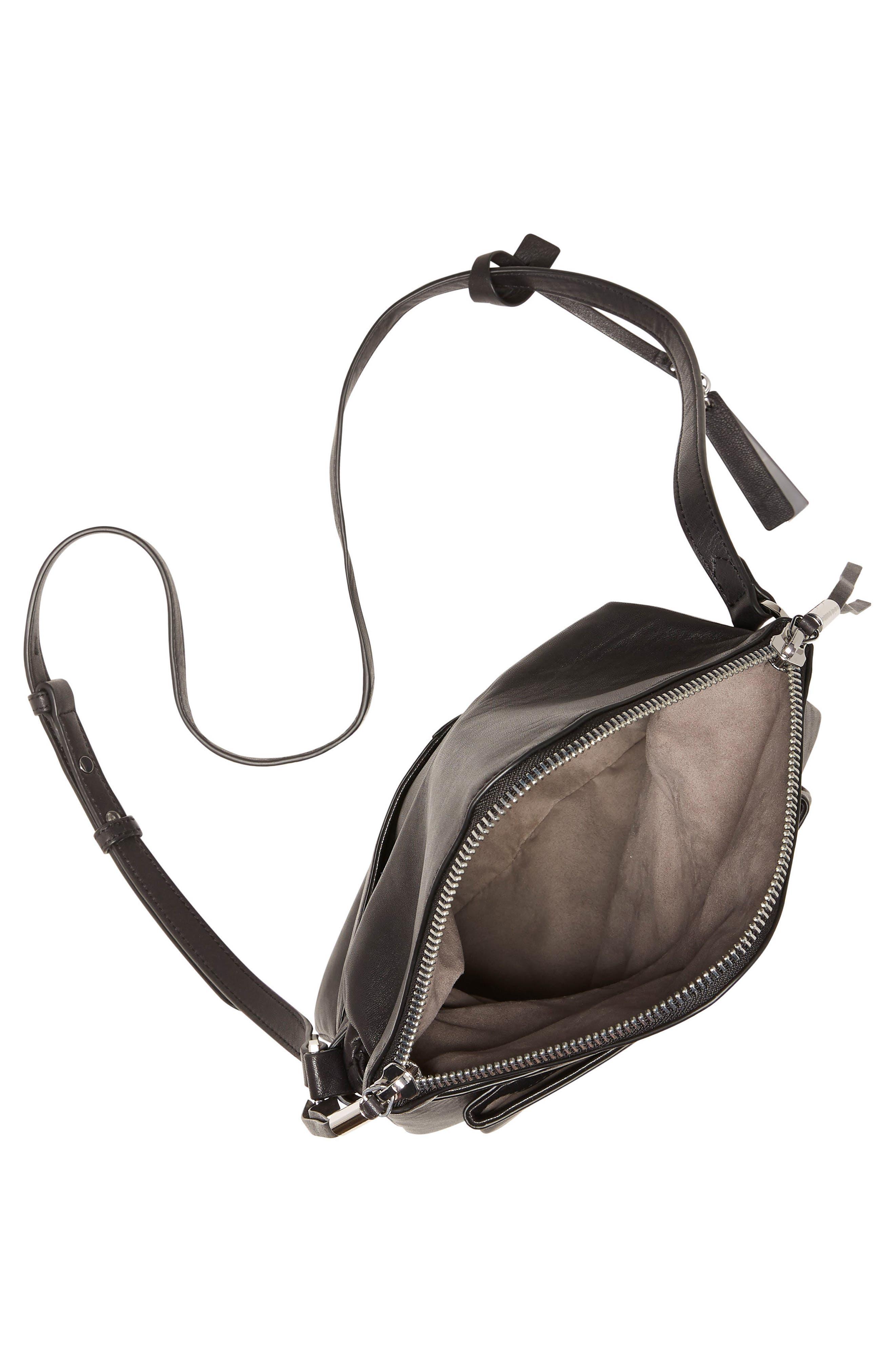 Alder Leather Crossbody Bag,                             Alternate thumbnail 3, color,                             Nero