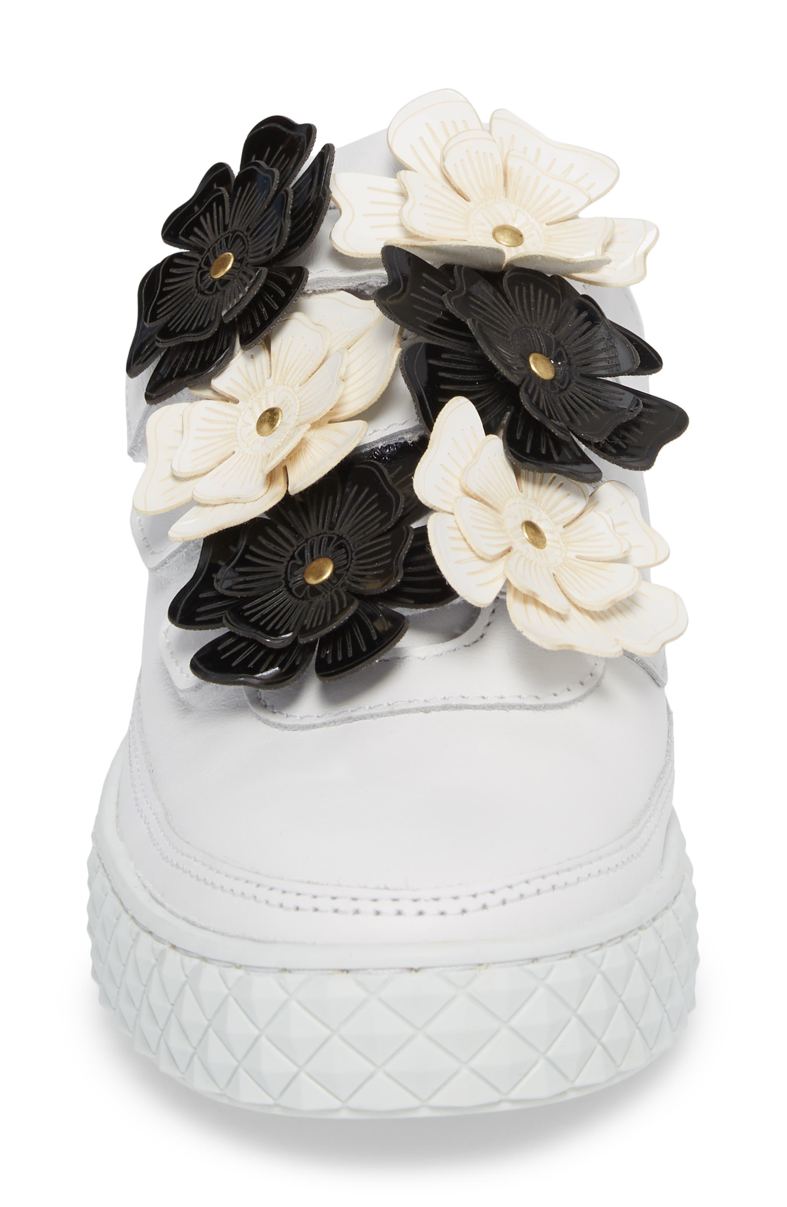 Hurou Embellished Sneaker,                             Alternate thumbnail 4, color,                             Optic White/ Black Leather