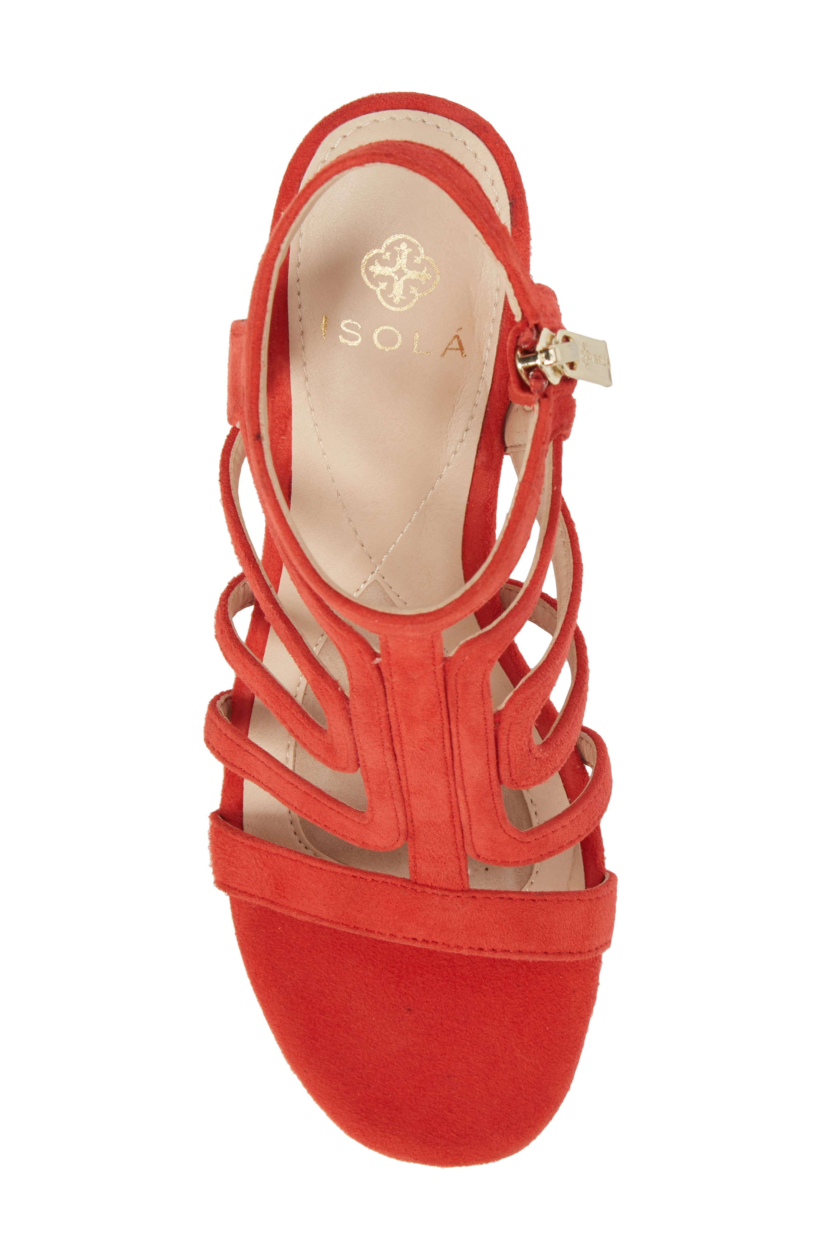 Lina Sandal,                             Alternate thumbnail 5, color,                             Lipstick Red Suede
