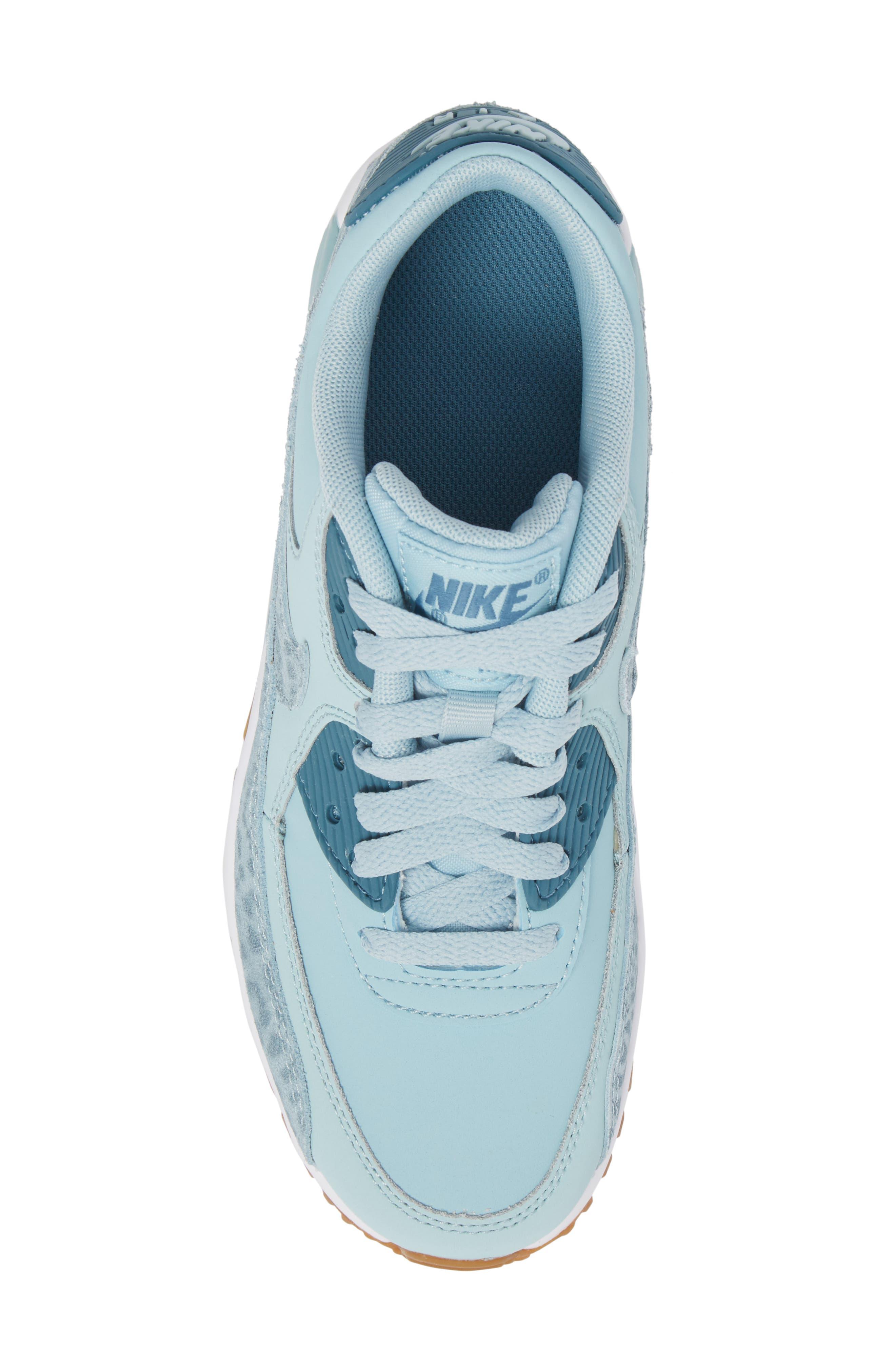 Air Max 90 Leather Sneaker,                             Alternate thumbnail 5, color,                             Ocean Bliss/ Noise Aqua/ White
