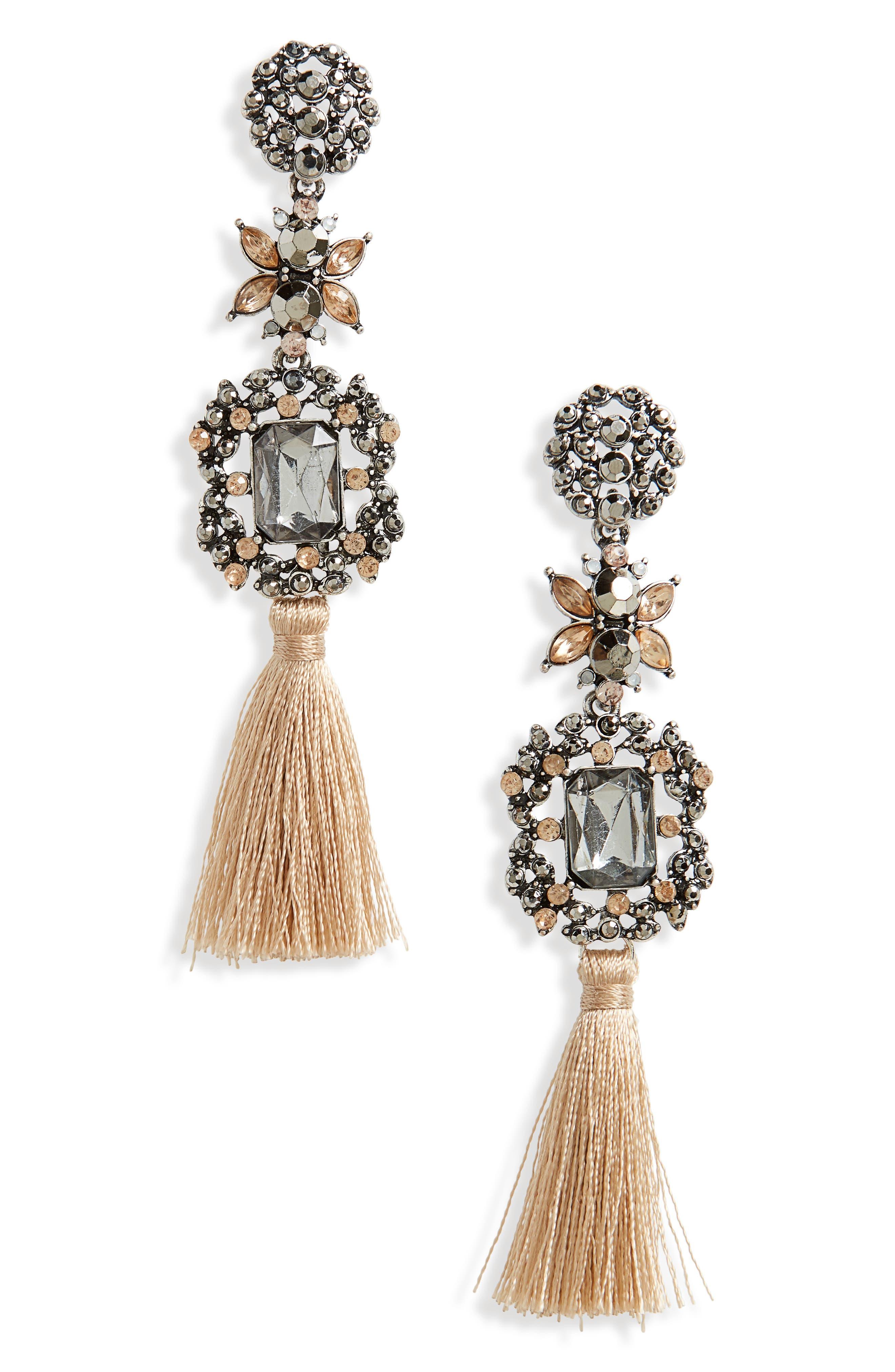 Tassel Drop Earrings,                         Main,                         color, Pastel Multi