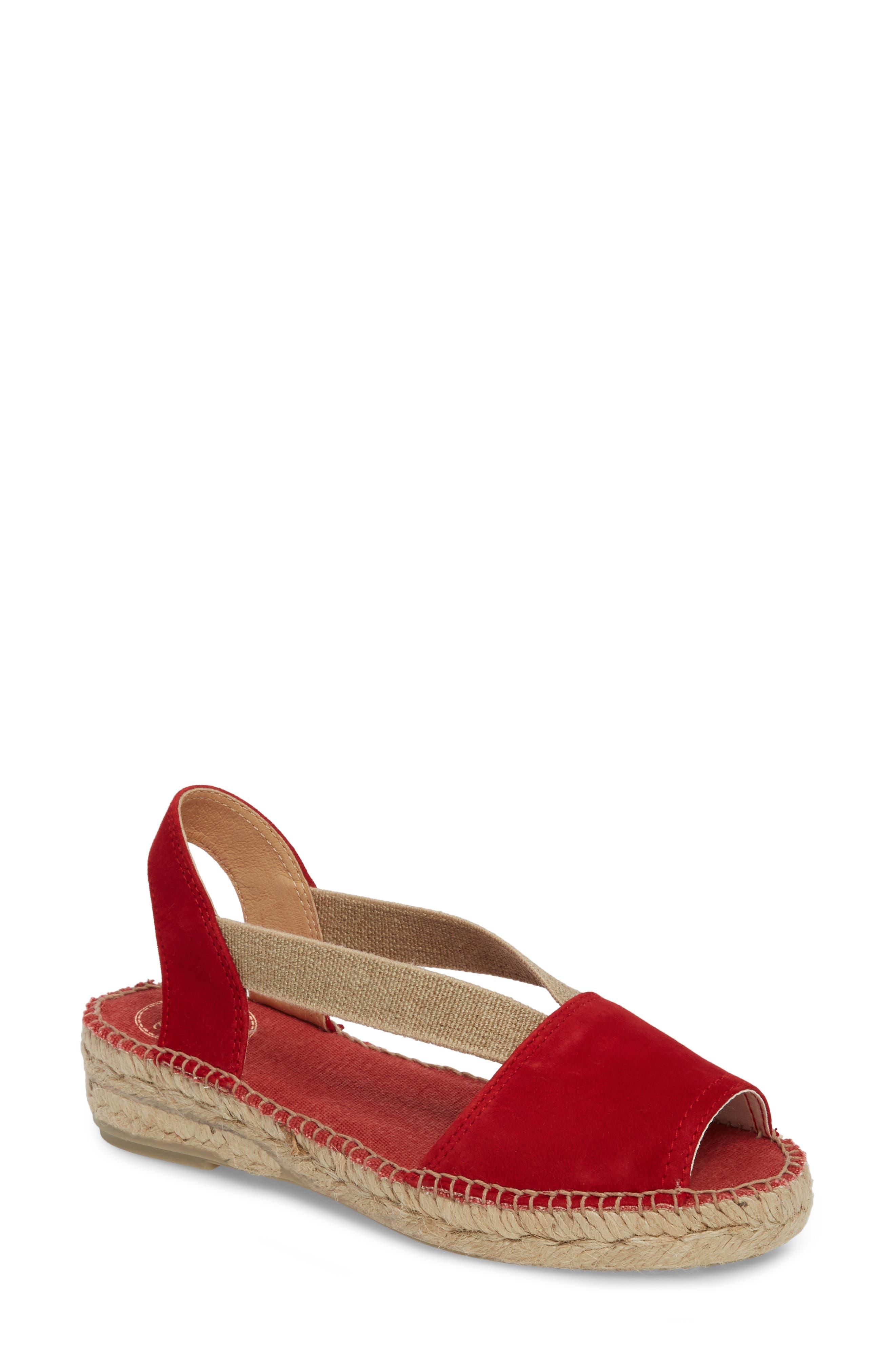 Ella Espadrille Sandal,                         Main,                         color, Red Suede