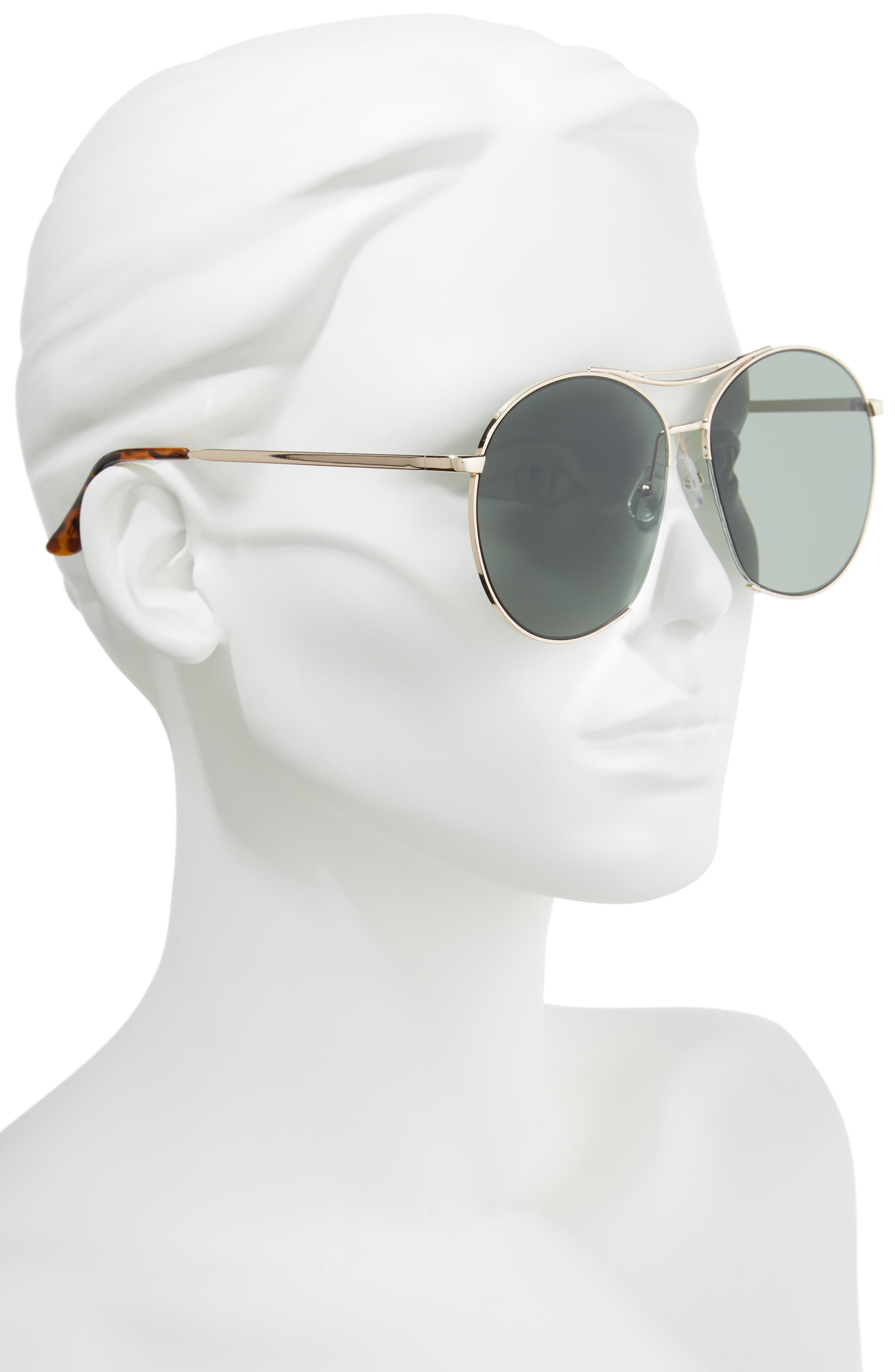 60mm Round Aviator Sunglasses,                             Alternate thumbnail 2, color,                             Gold