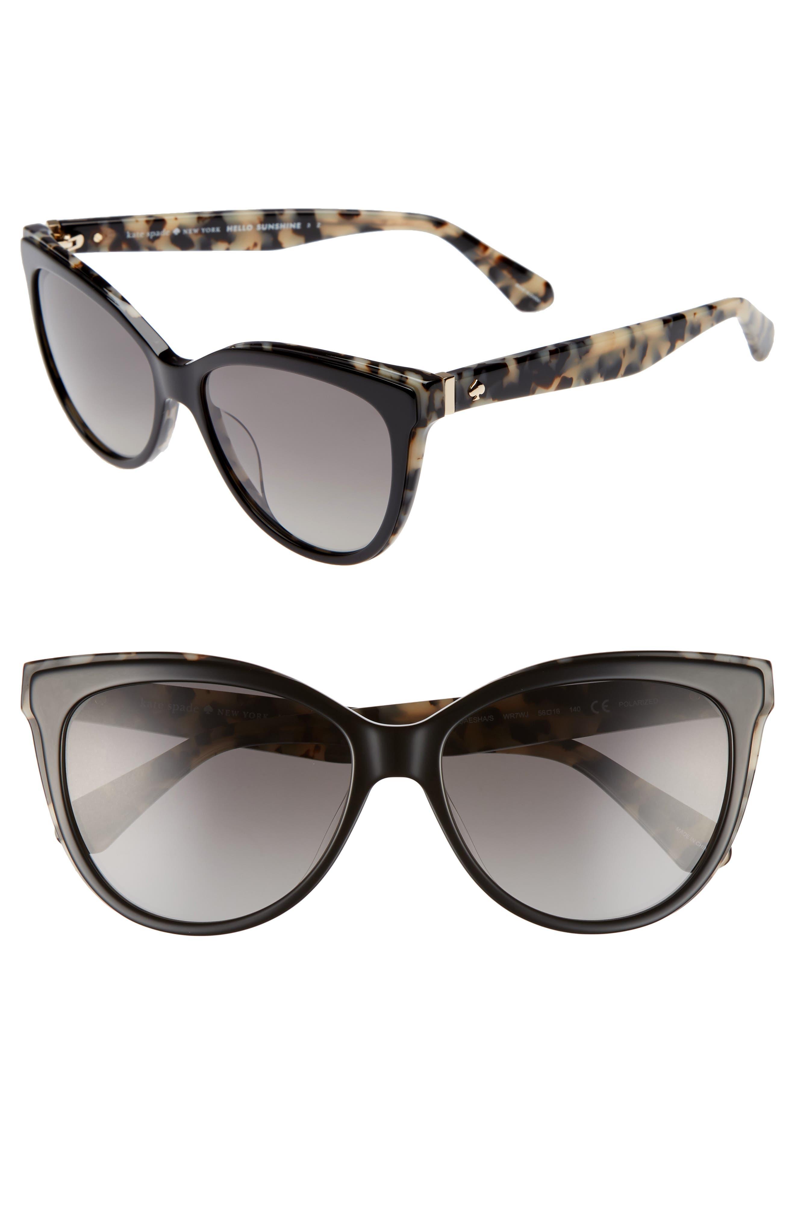 daeshas 56mm cat eye sunglasses,                             Main thumbnail 1, color,                             Black Havana Polar