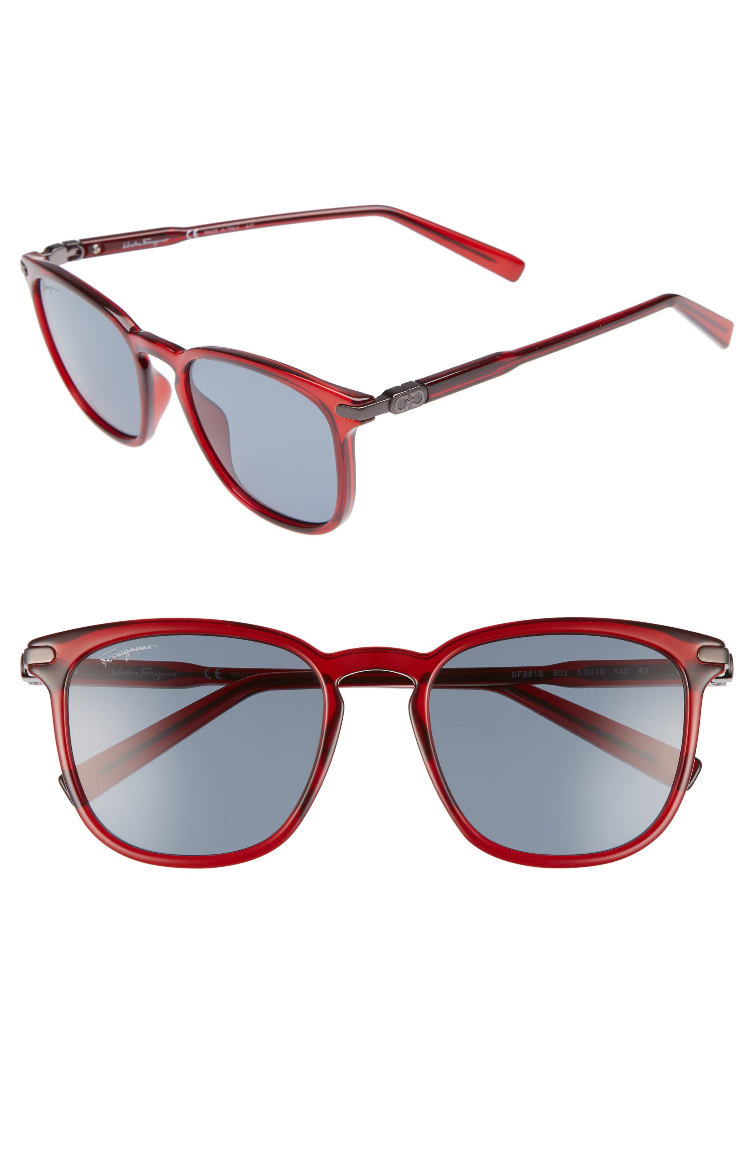 Double Gancio 53mm Sunglasses,                         Main,                         color, Bordeaux