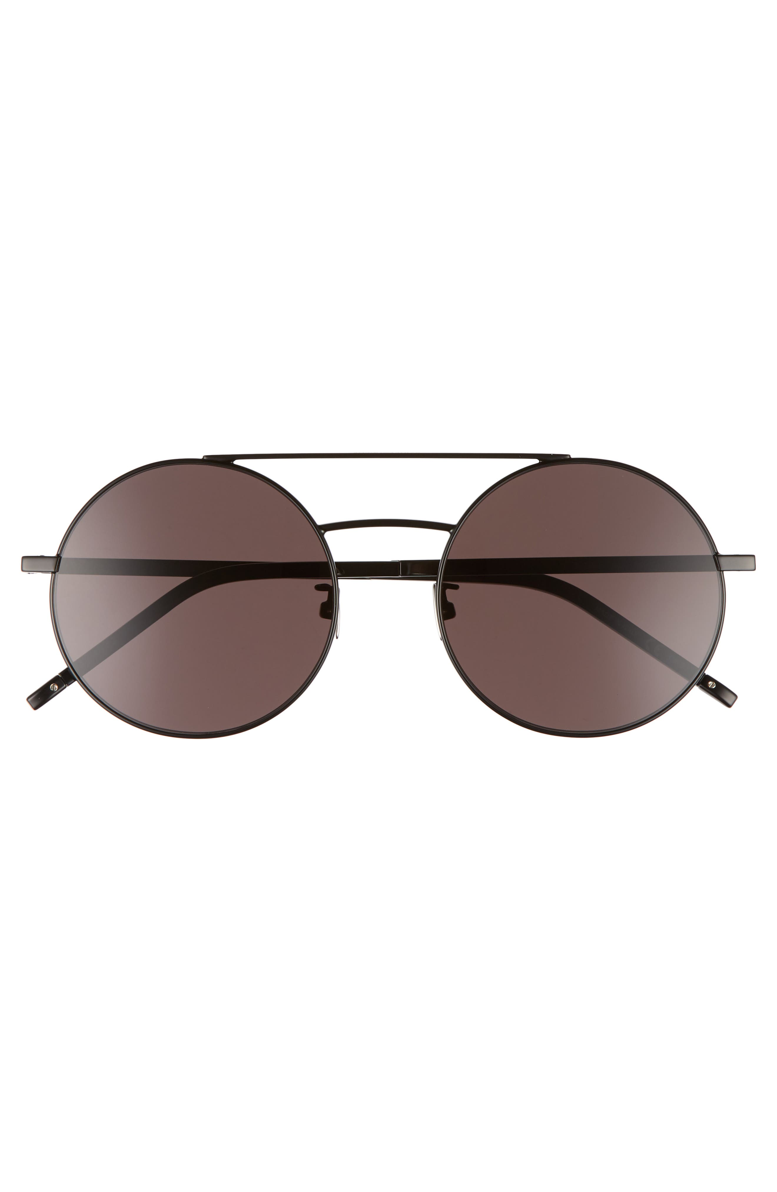 SL 210/F 56mm Round Aviator Sunglasses,                             Alternate thumbnail 2, color,                             Black