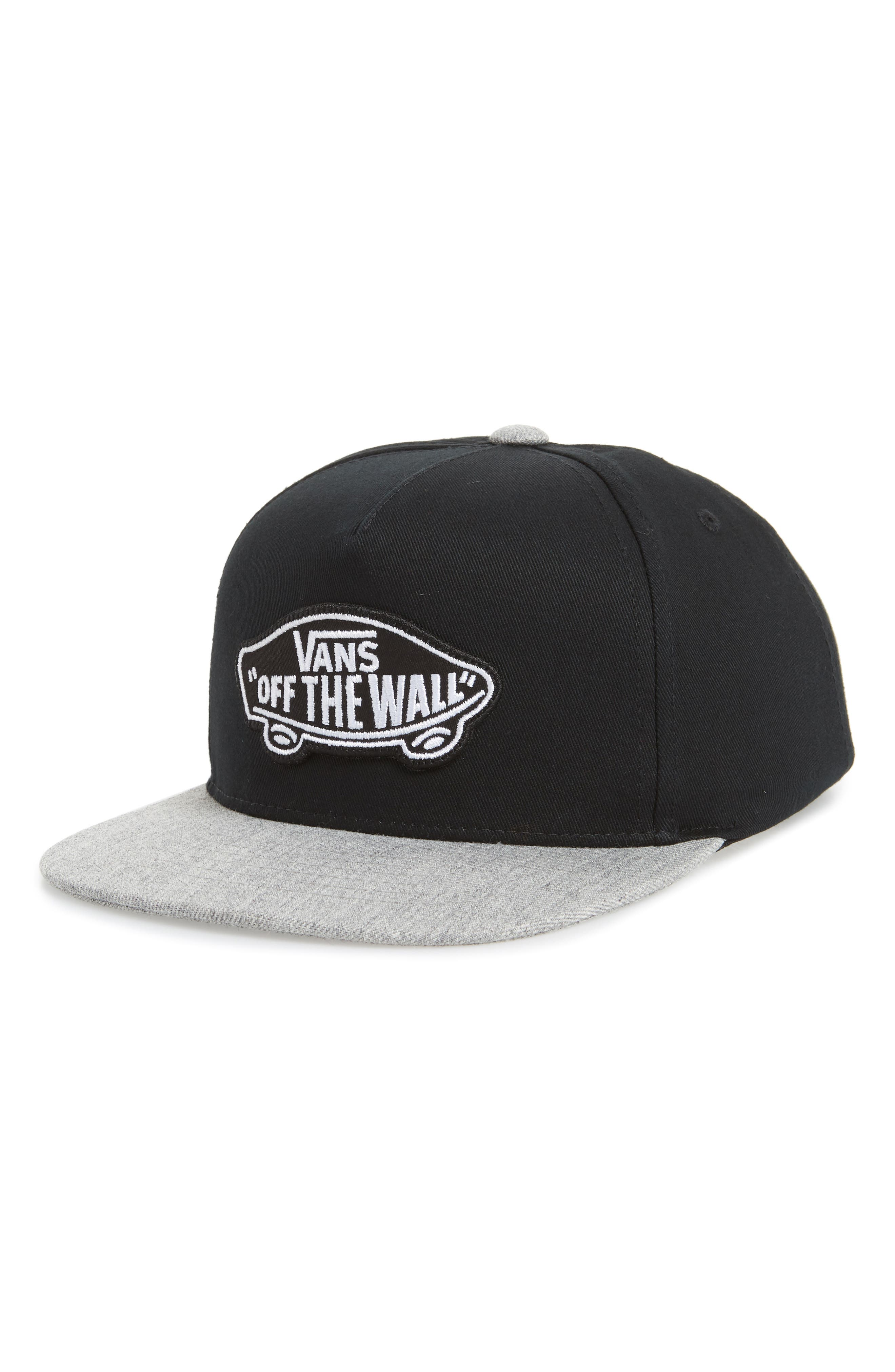Classic Patch Snapback Cap,                         Main,                         color, Black/ Heather Grey