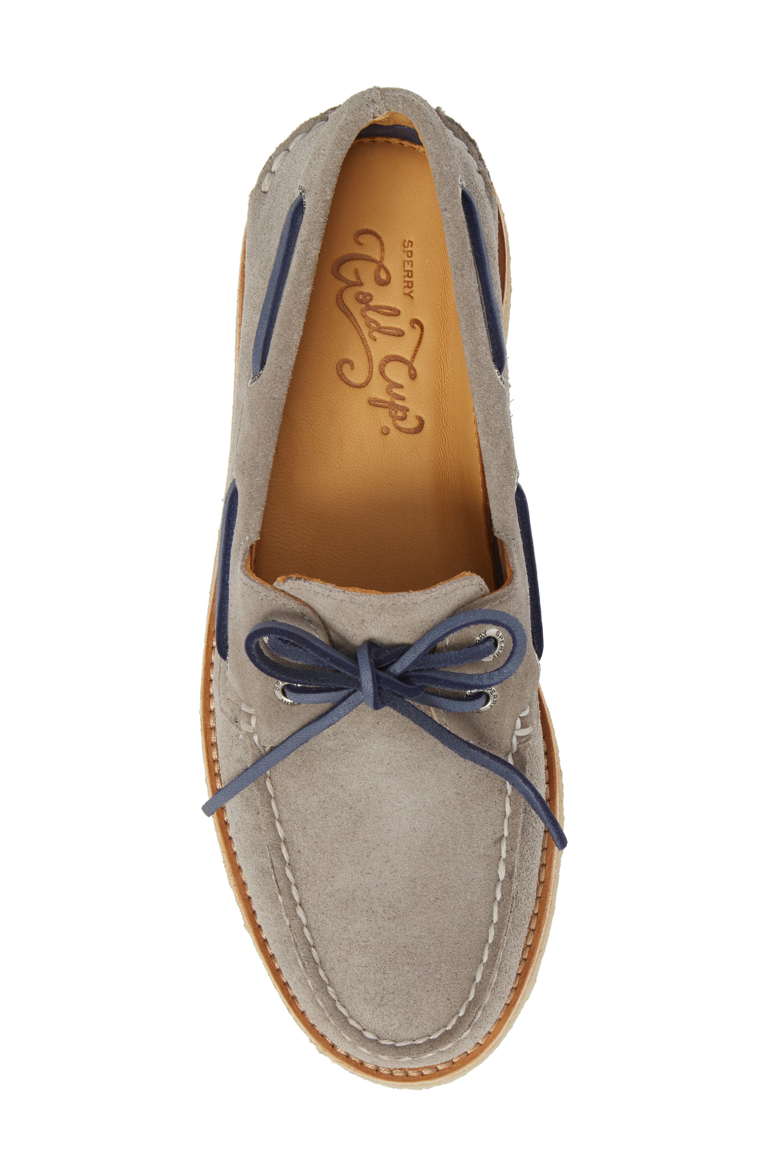 Gold Cup AO 2-Eye Boat Shoe,                             Alternate thumbnail 5, color,                             Grey Leather