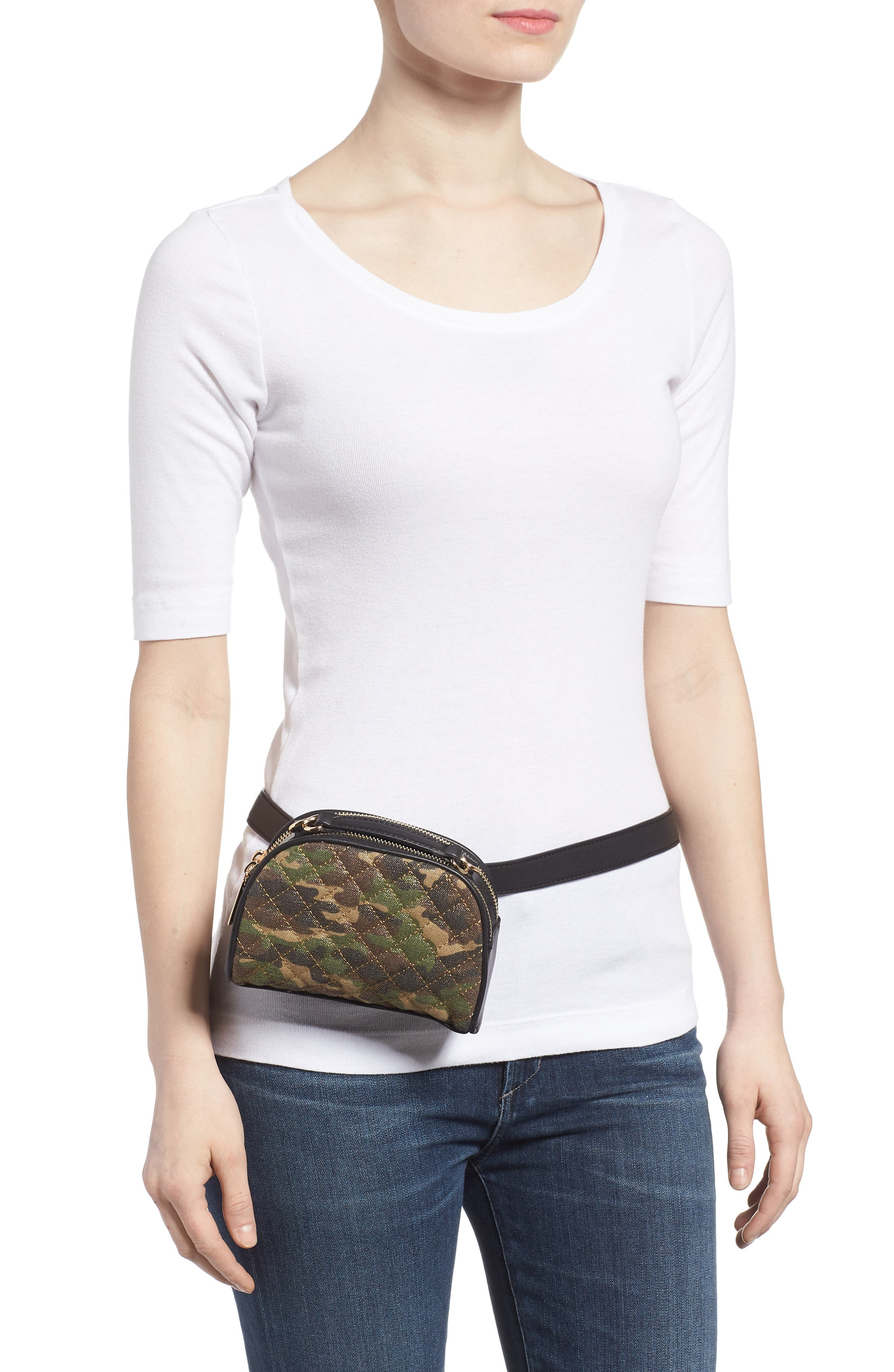 Mali + Lili Quilted Camouflage Belt Bag,                             Alternate thumbnail 4, color,                             Camouflage