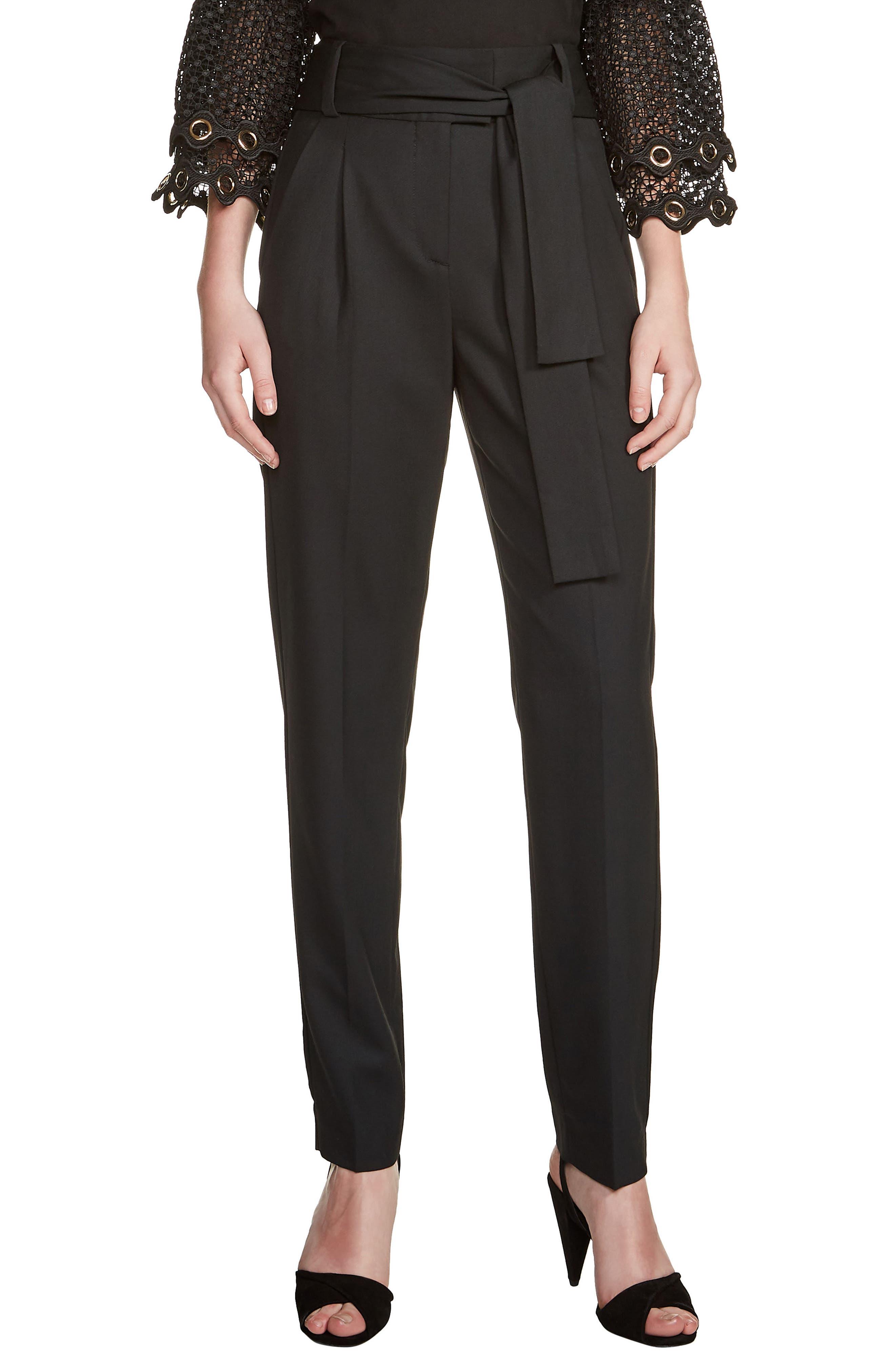 Paris Belted Pleat Front Pants,                         Main,                         color, Black 210