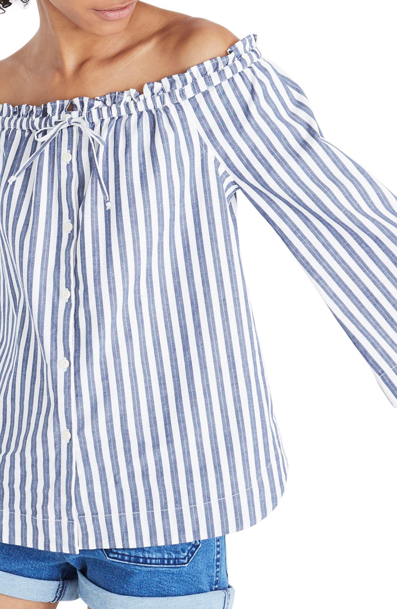 Shimmer Stripe Off the Shoulder Top,                             Main thumbnail 1, color,                             Amelia Stripe