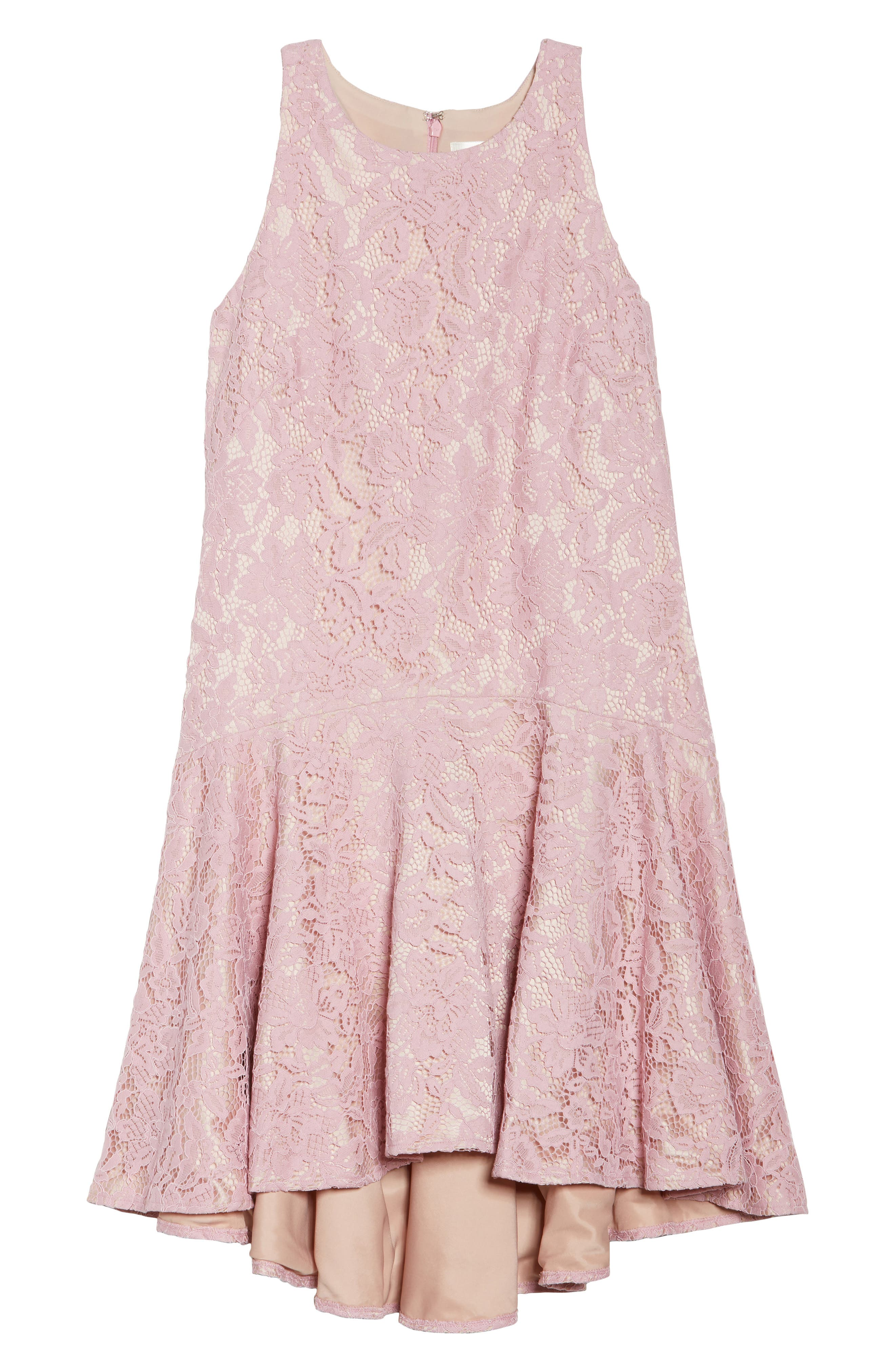 Sleeveless Drop Waist Lace Dress,                             Alternate thumbnail 7, color,                             Blush