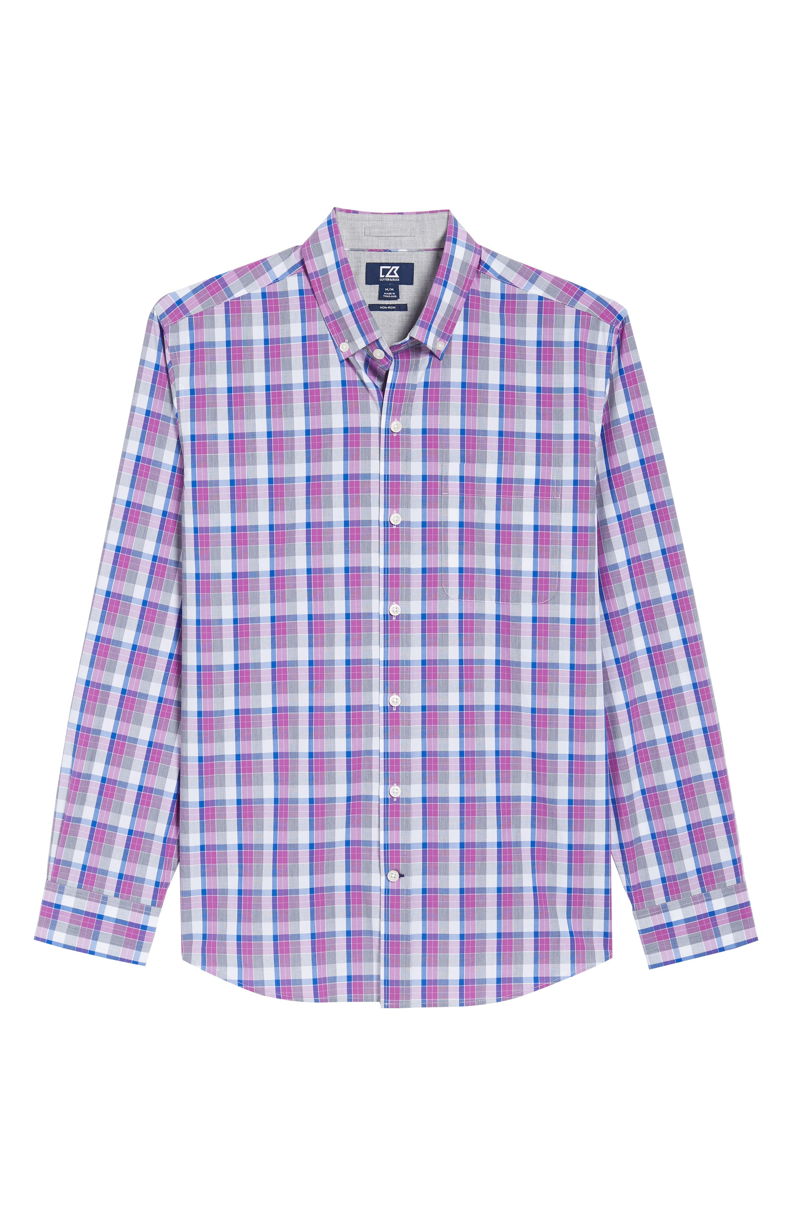Zachary Non-Iron Plaid Sport Shirt,                             Alternate thumbnail 6, color,                             Magnetic