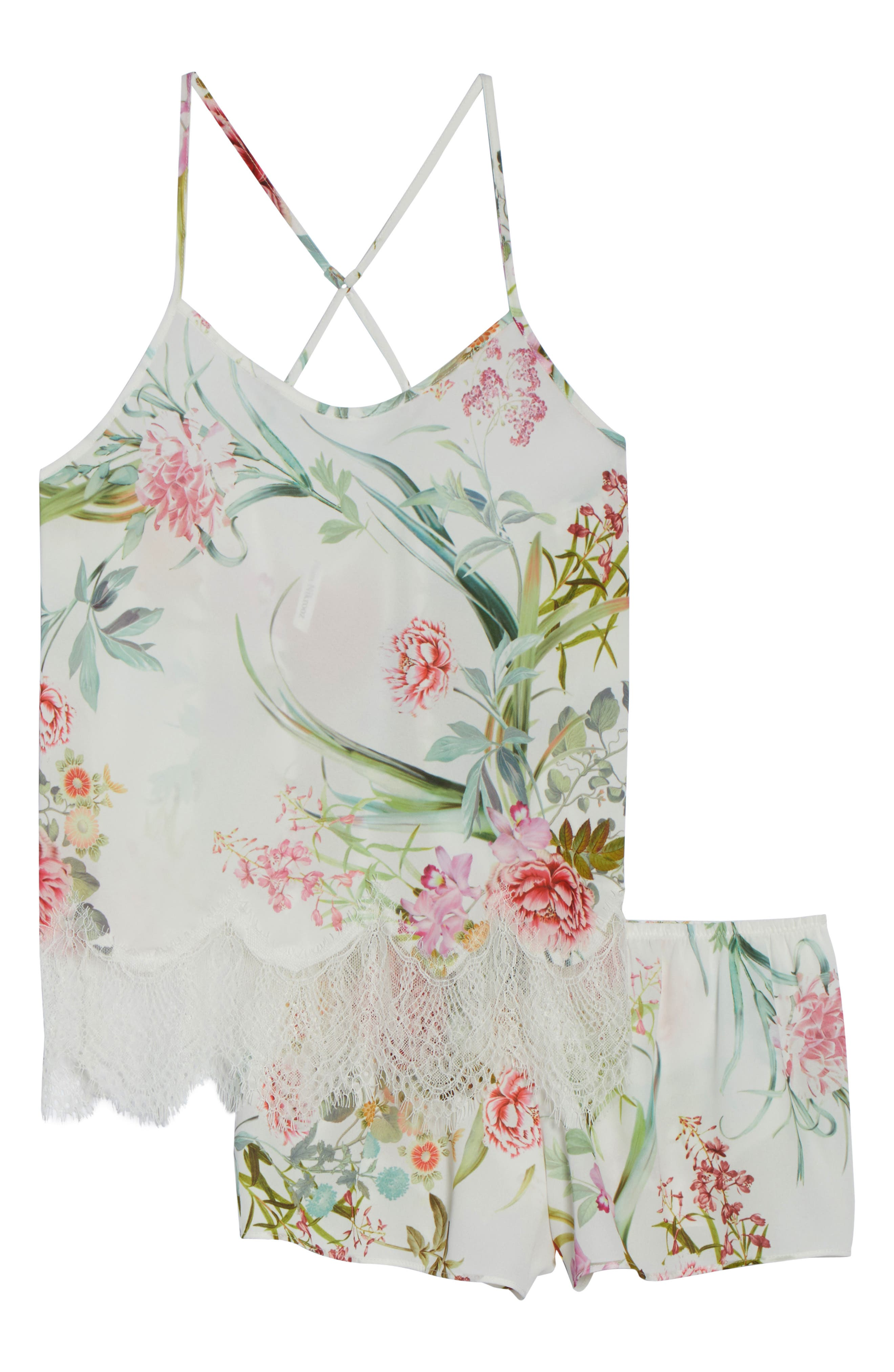 Fiona Crepe Camisole Pajama Set,                             Alternate thumbnail 6, color,                             Ivory
