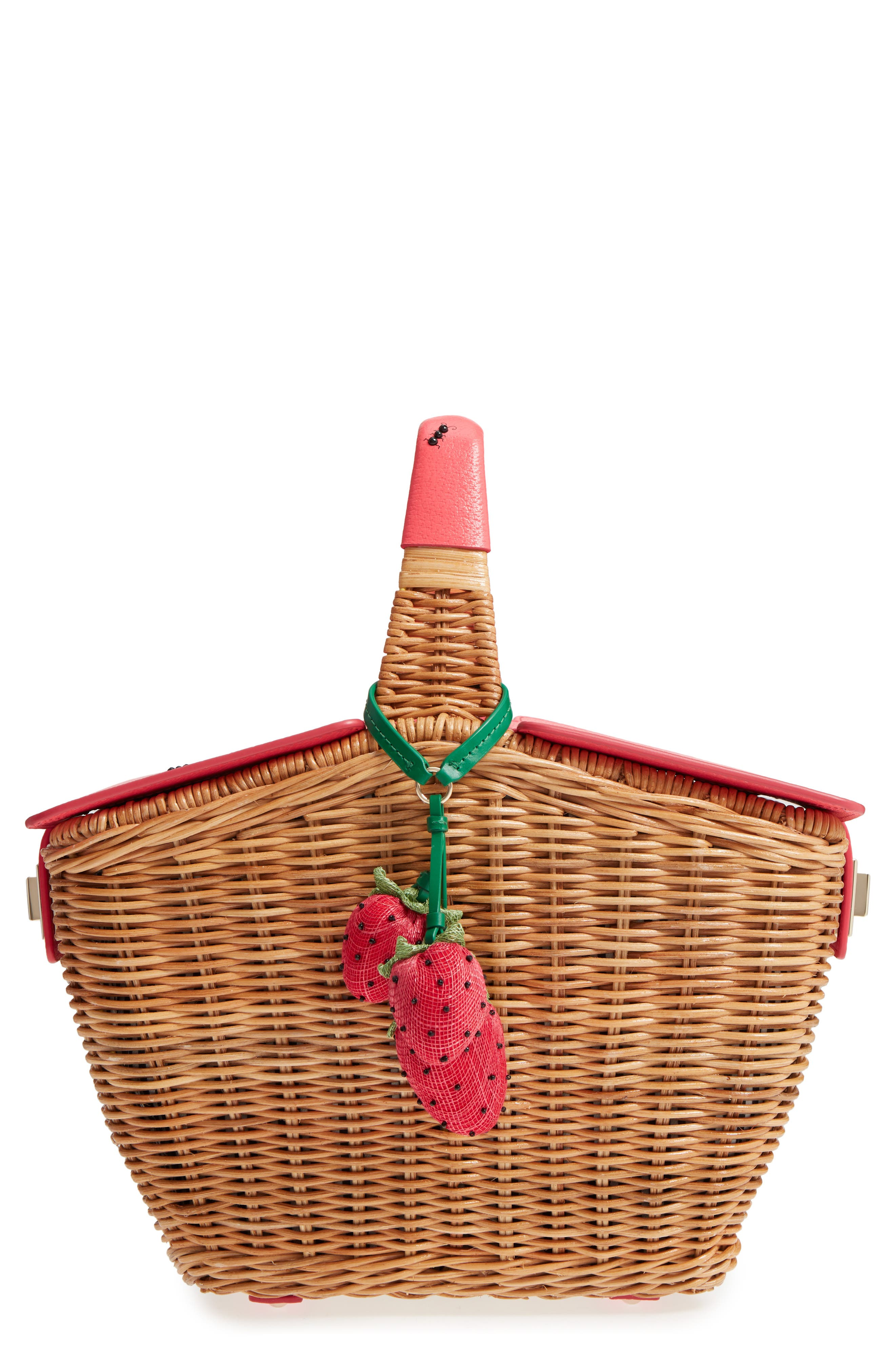 picnic perfect 3D wicker picnic basket,                         Main,                         color, Multi