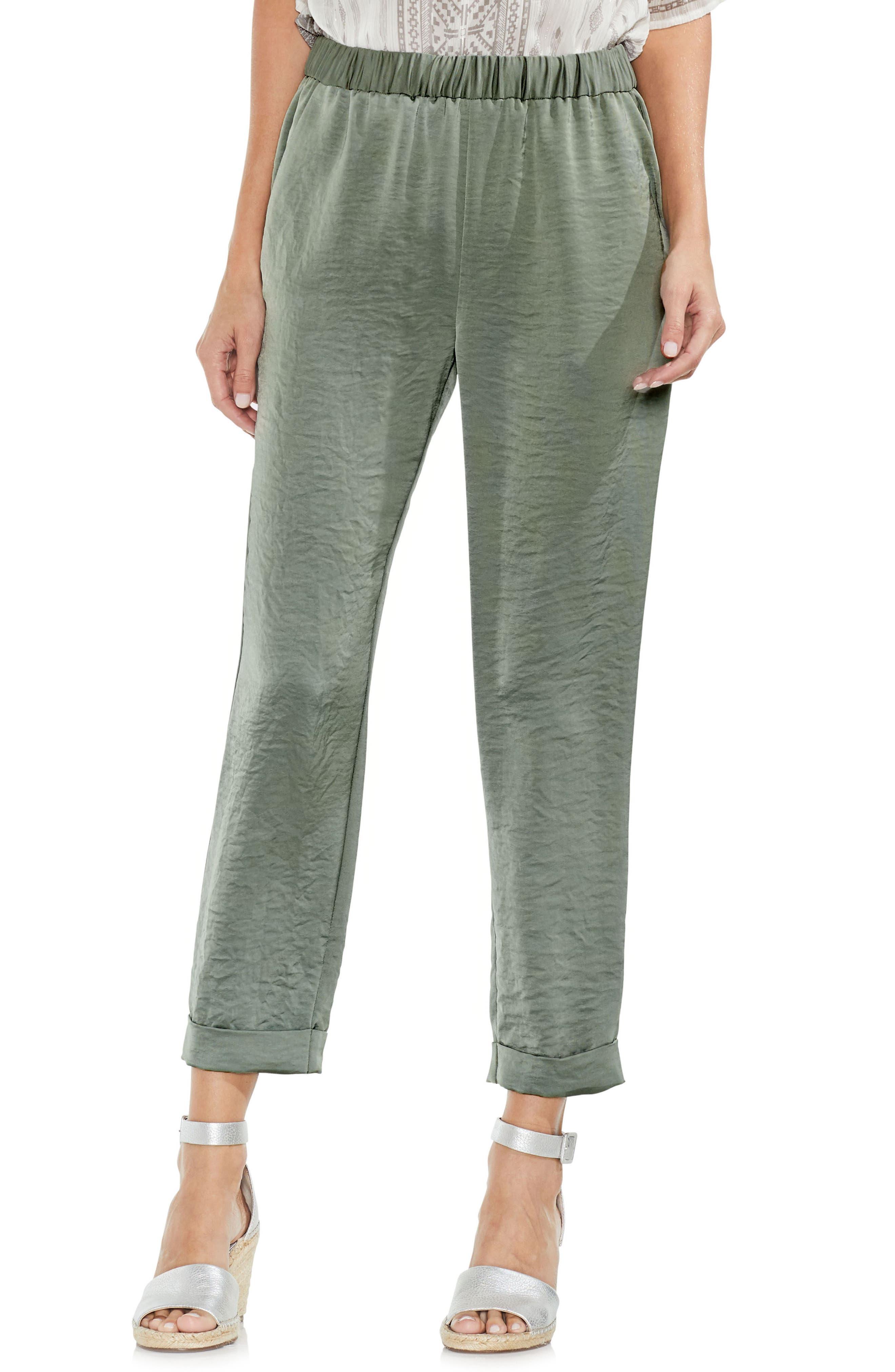 Hammered Satin Crop Jogger Pants,                         Main,                         color, Camo Green