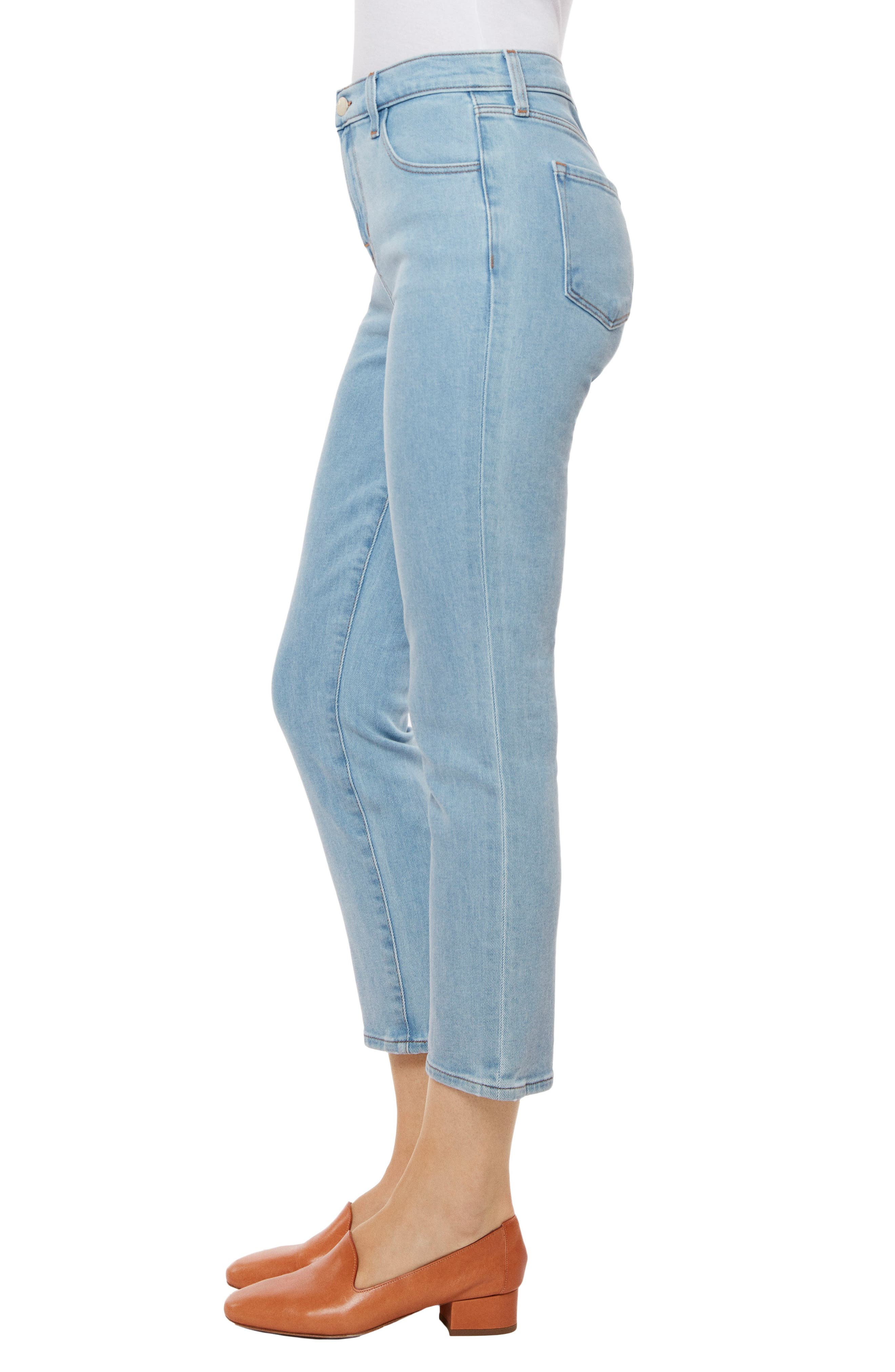Ruby High Waist Crop Jeans,                             Alternate thumbnail 3, color,                             Silvery