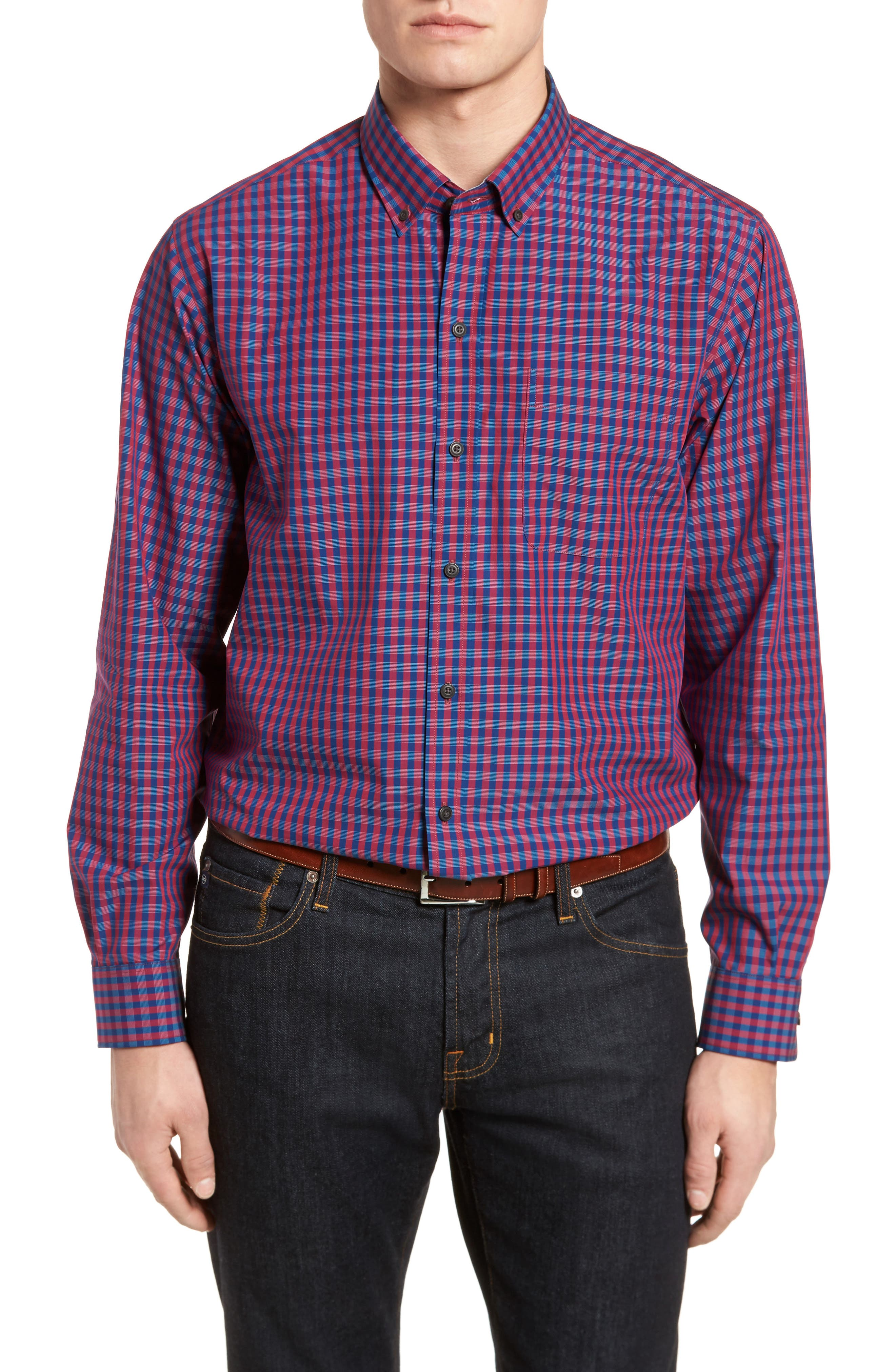 Myles Classic Fit Non-Iron Gingham Sport Shirt,                         Main,                         color, Virtual