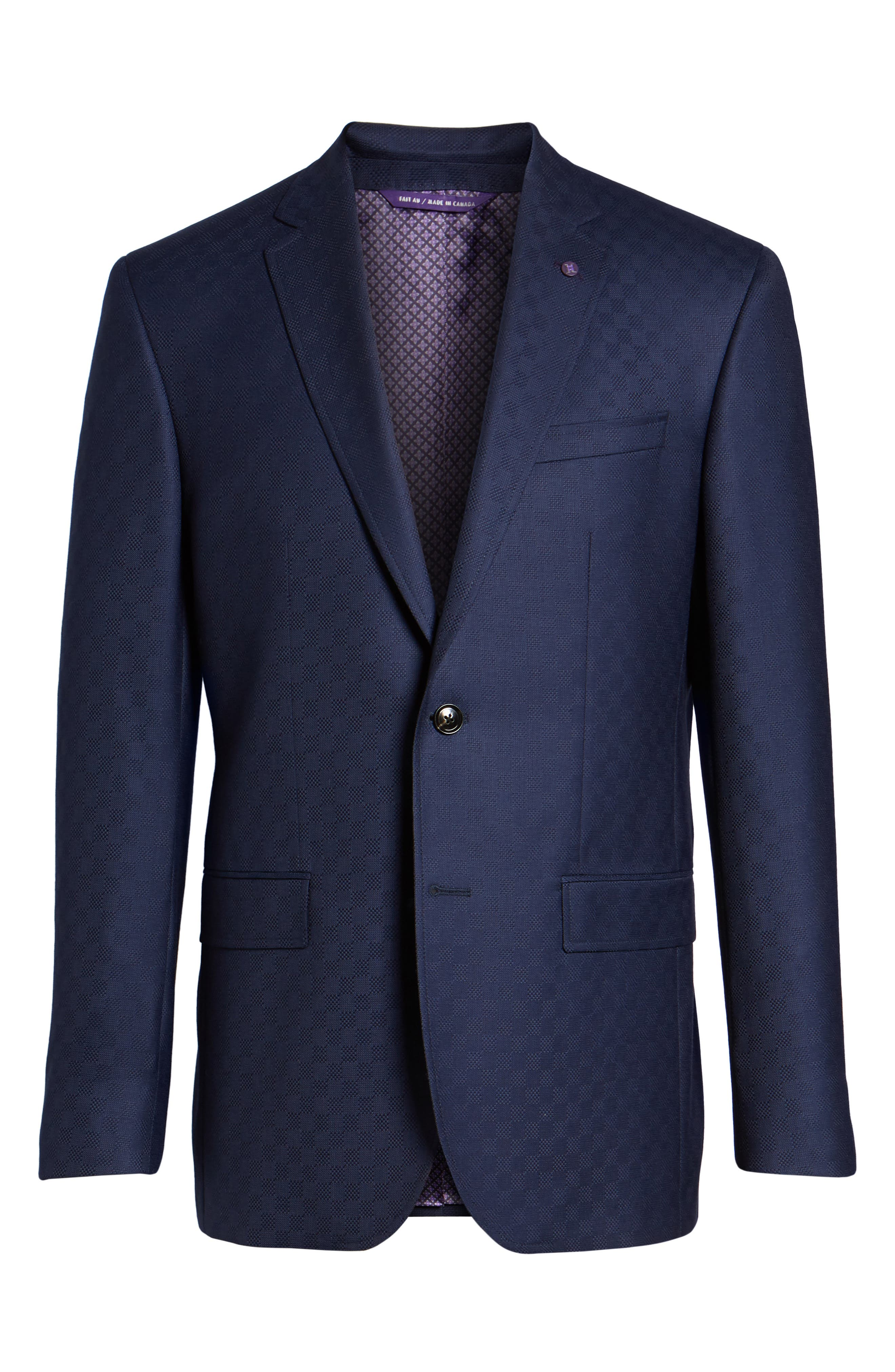 Jay Trim Fit Check Wool Sport Coat,                             Alternate thumbnail 6, color,                             Navy