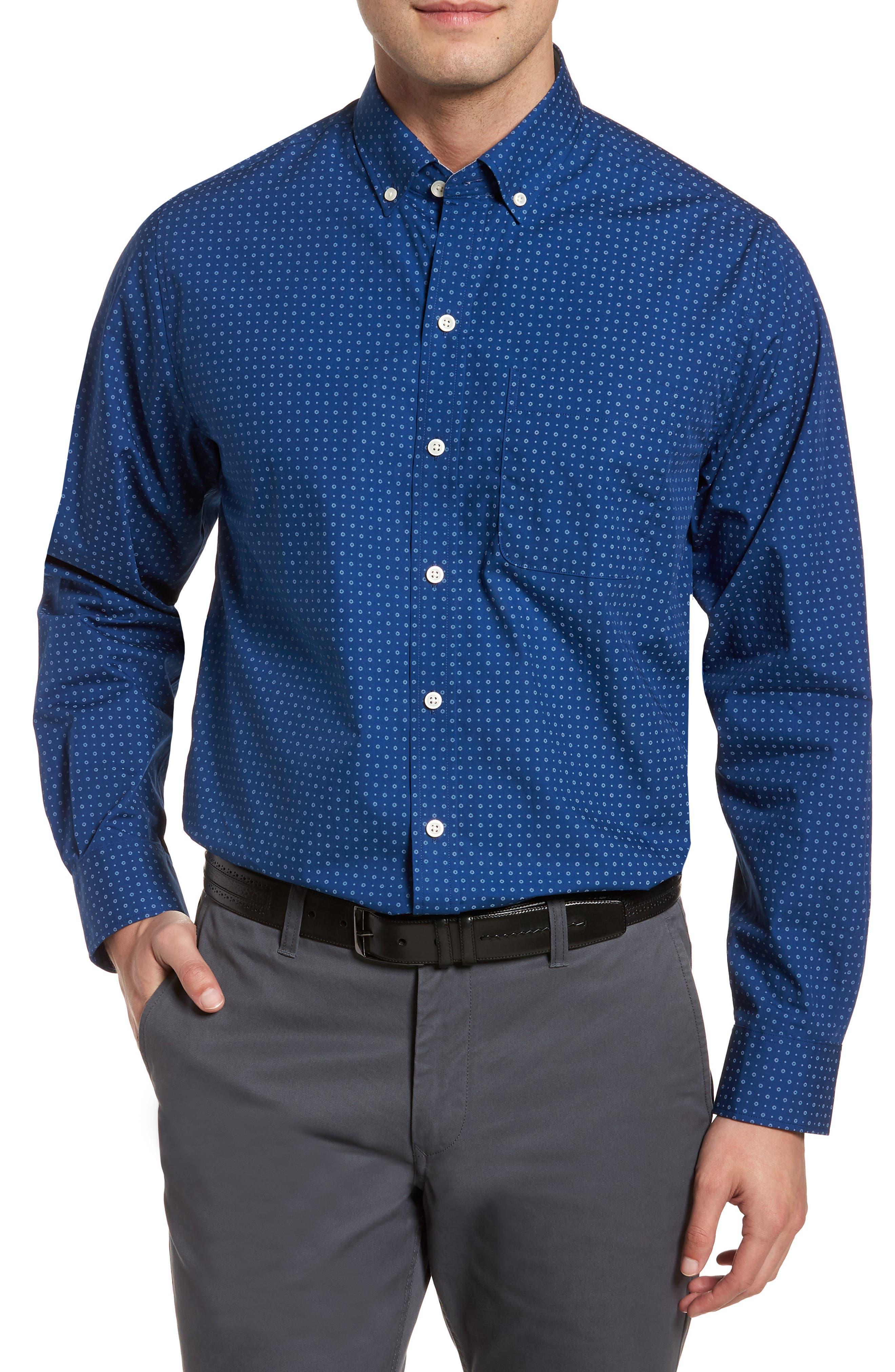 Rowan Print Sport Shirt,                         Main,                         color, Nautical