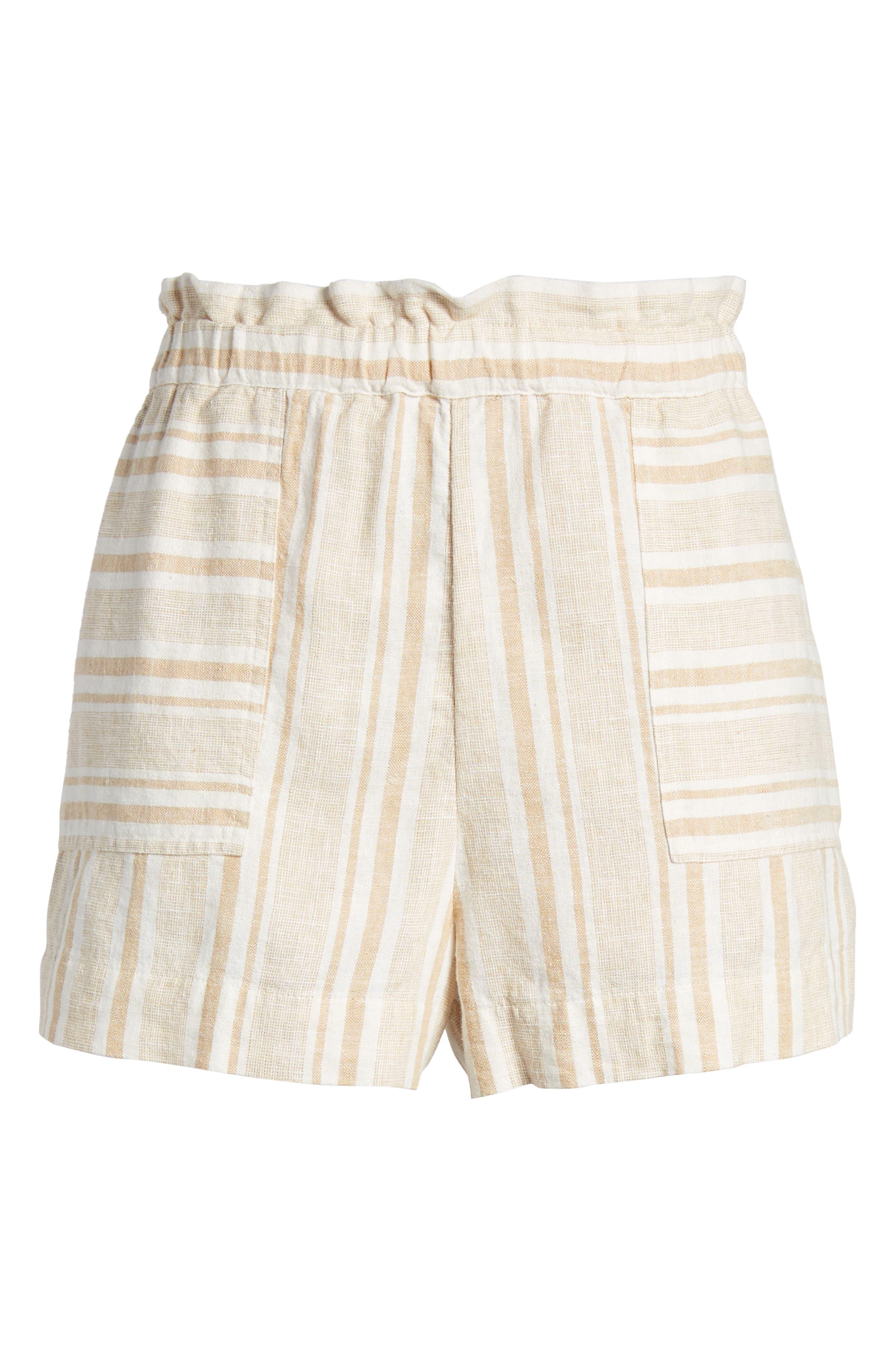 Stripe Linen Blend Shorts,                             Alternate thumbnail 6, color,                             Tan Lark Viola Stripe