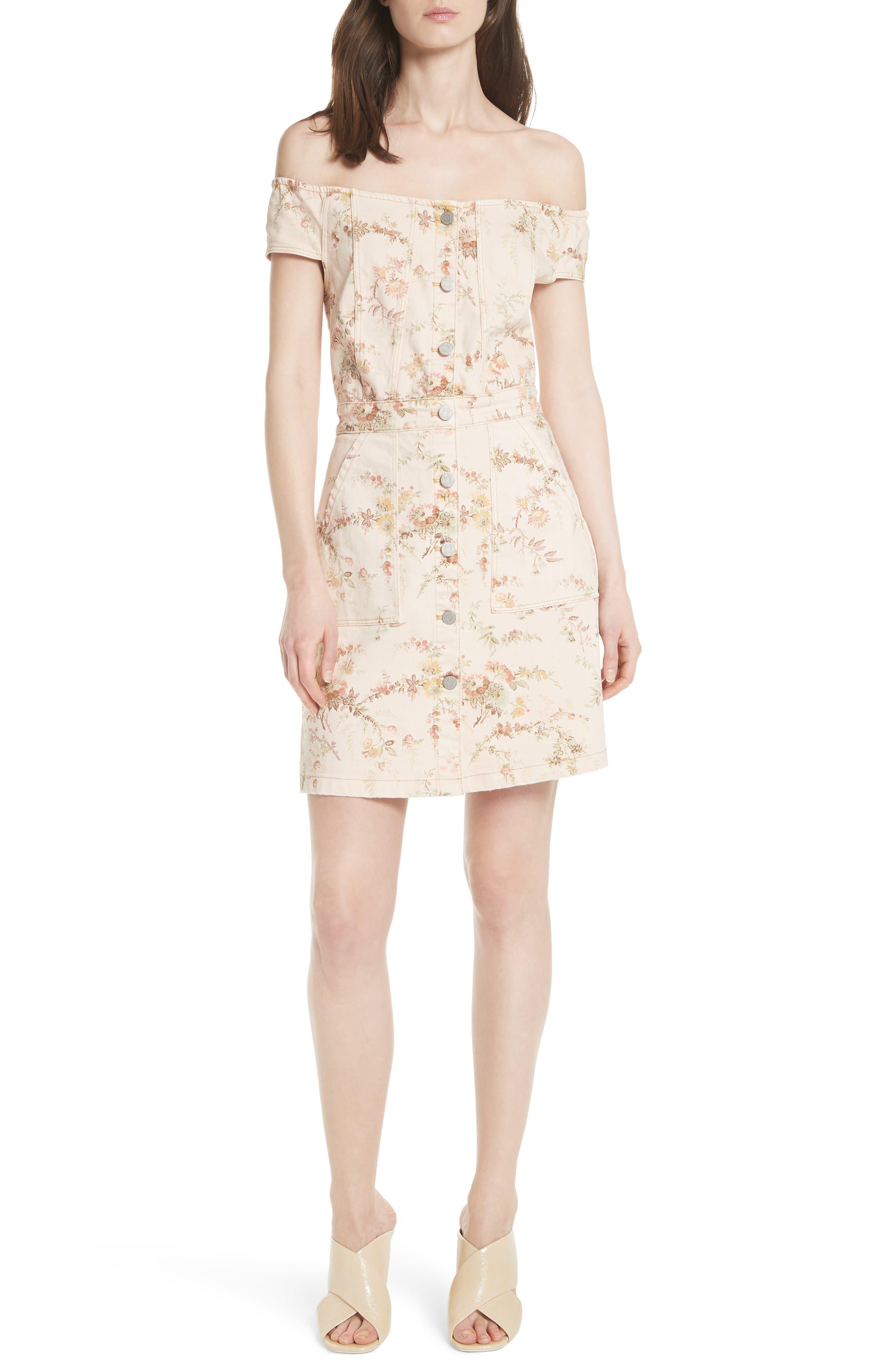 Floral Off the Shoulder Denim Dress,                         Main,                         color, Frappe Combo