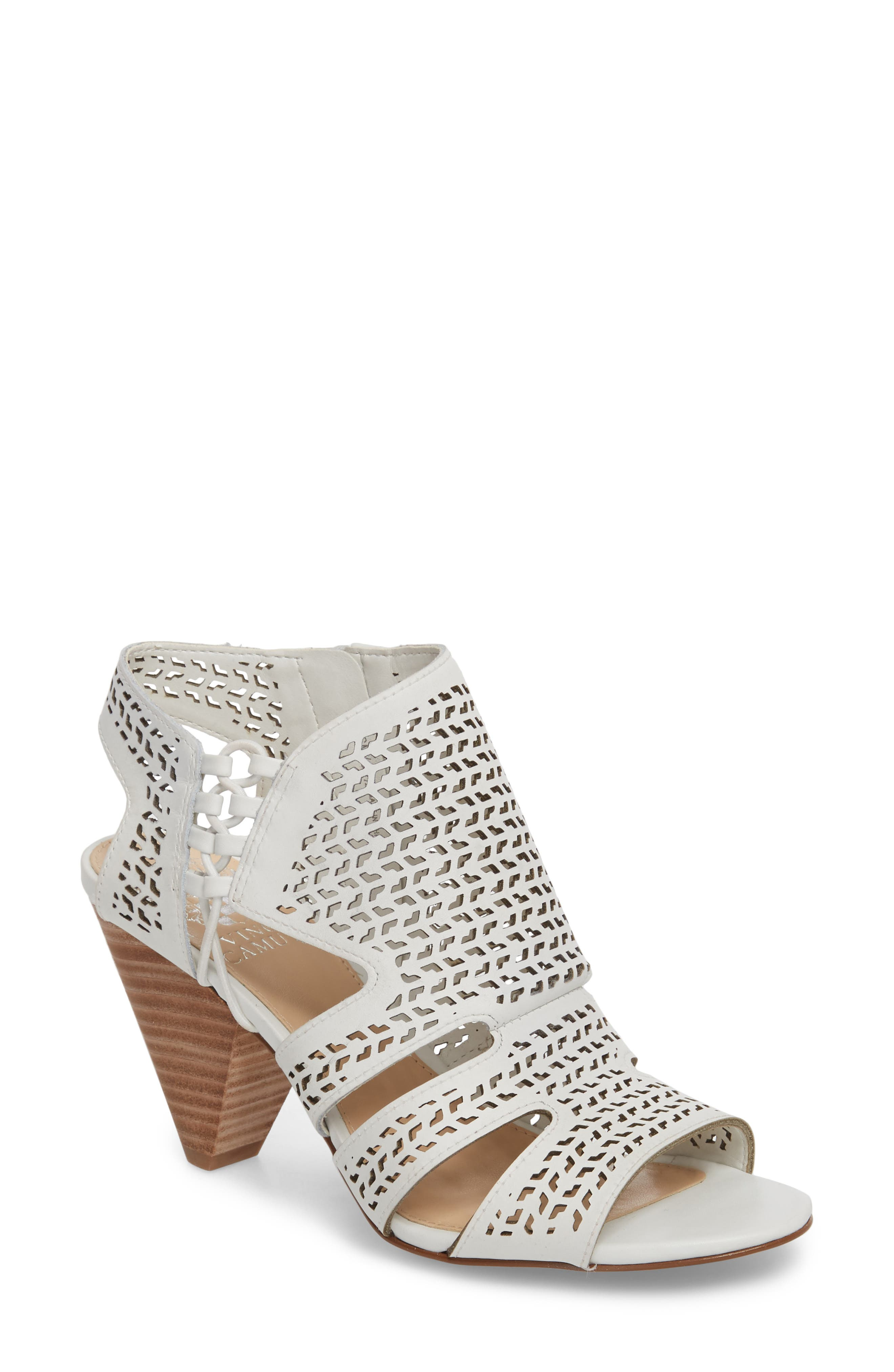 Esten Perforated Sandal,                         Main,                         color, Pure Leather