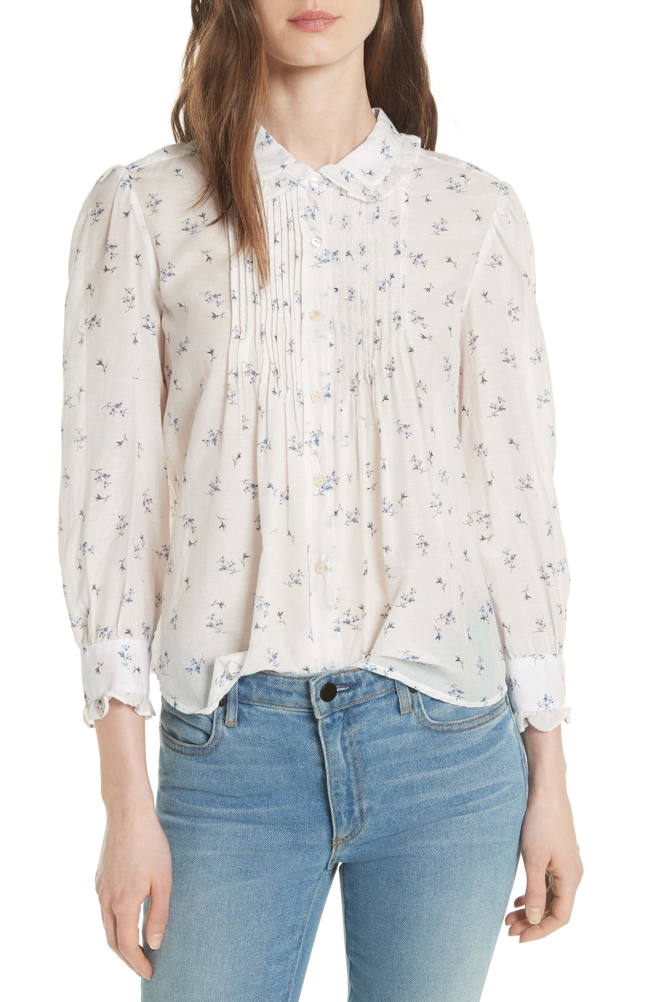 Floral Spring Blouse,                             Main thumbnail 1, color,                             Snow Combo