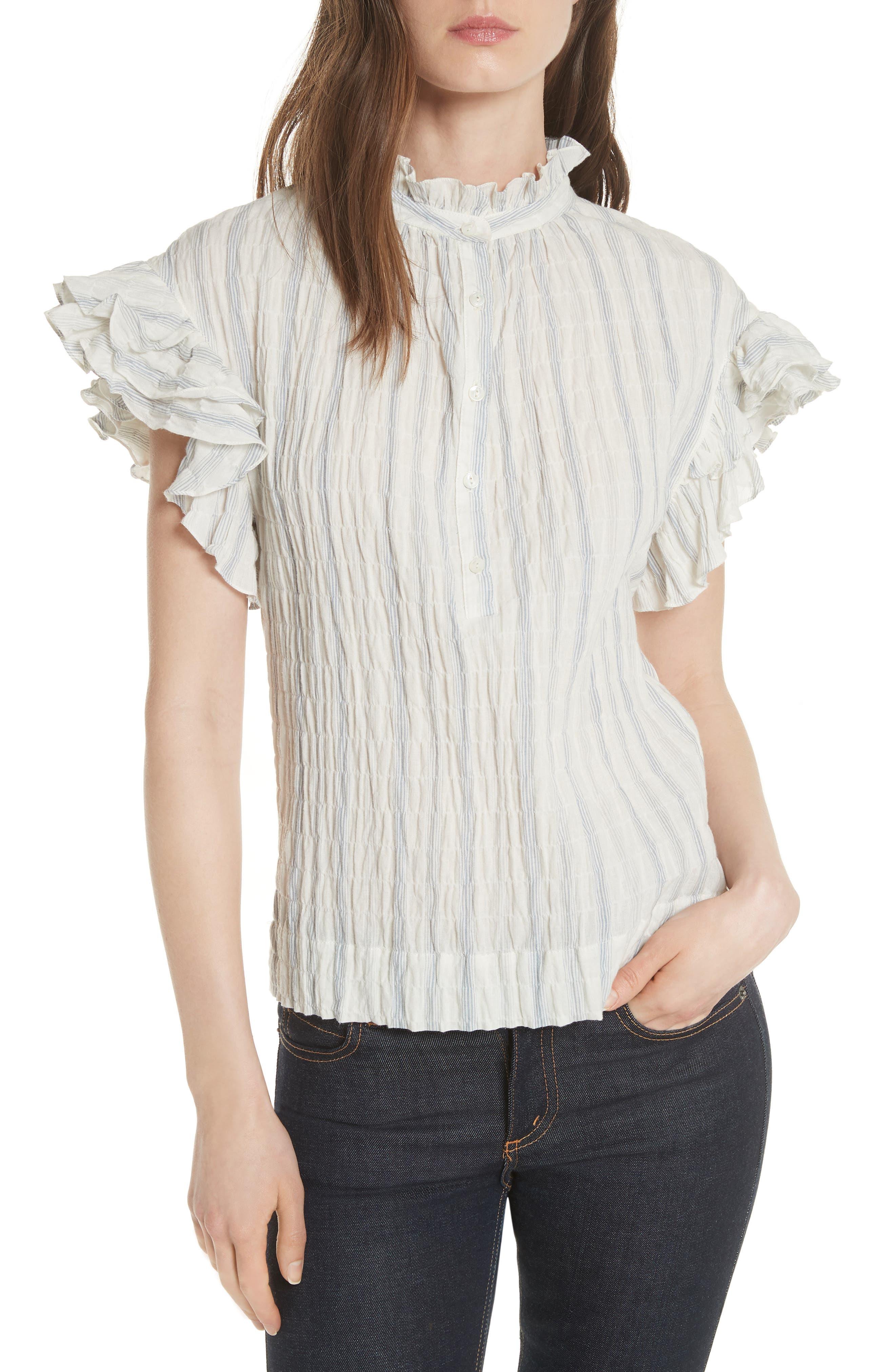 Ruffled Stripe Top,                         Main,                         color, Snow Combo