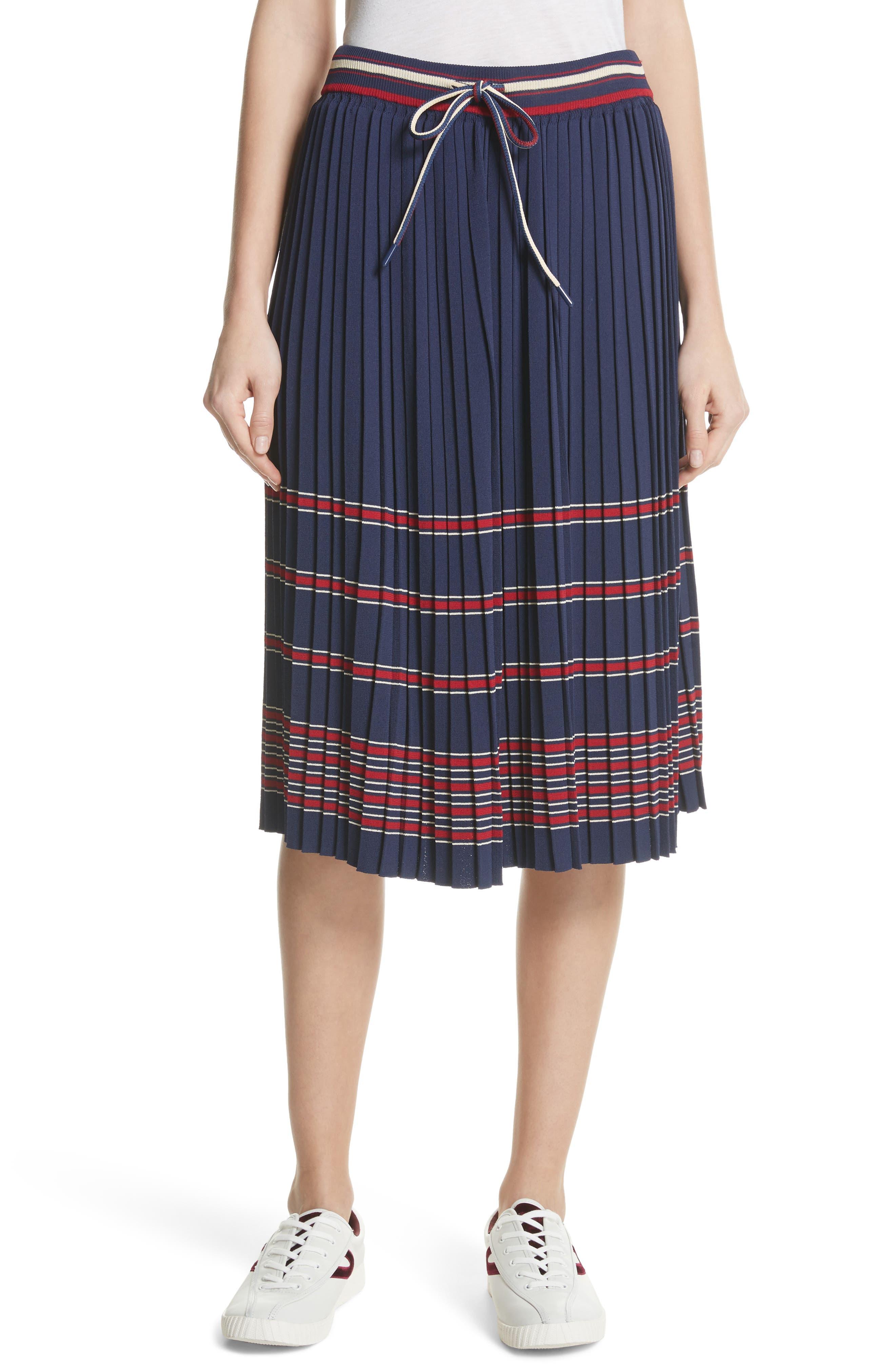 Pleated Midi Skirt,                         Main,                         color, Navy