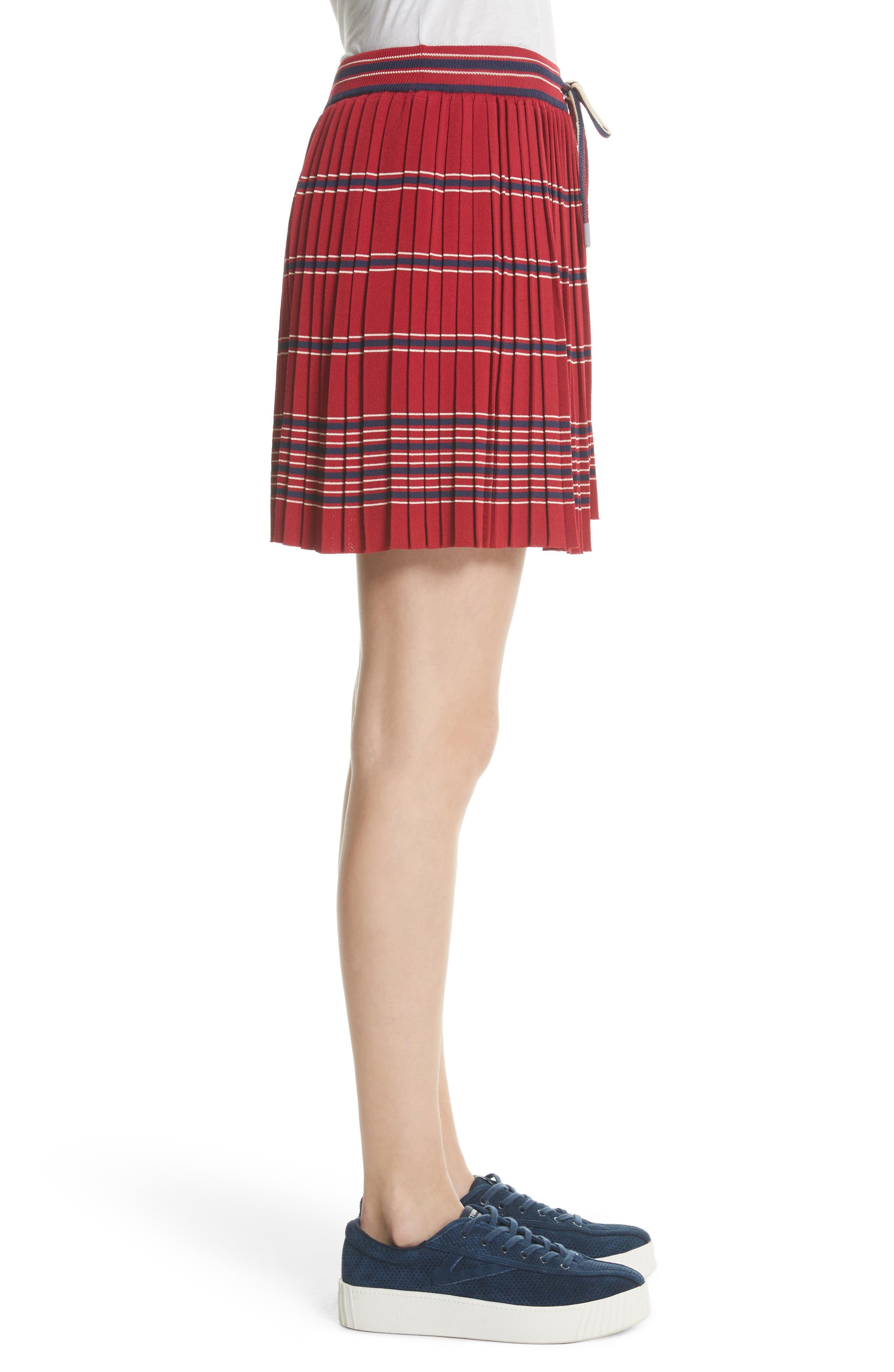 Pleated Miniskirt,                             Alternate thumbnail 4, color,                             Bordeaux