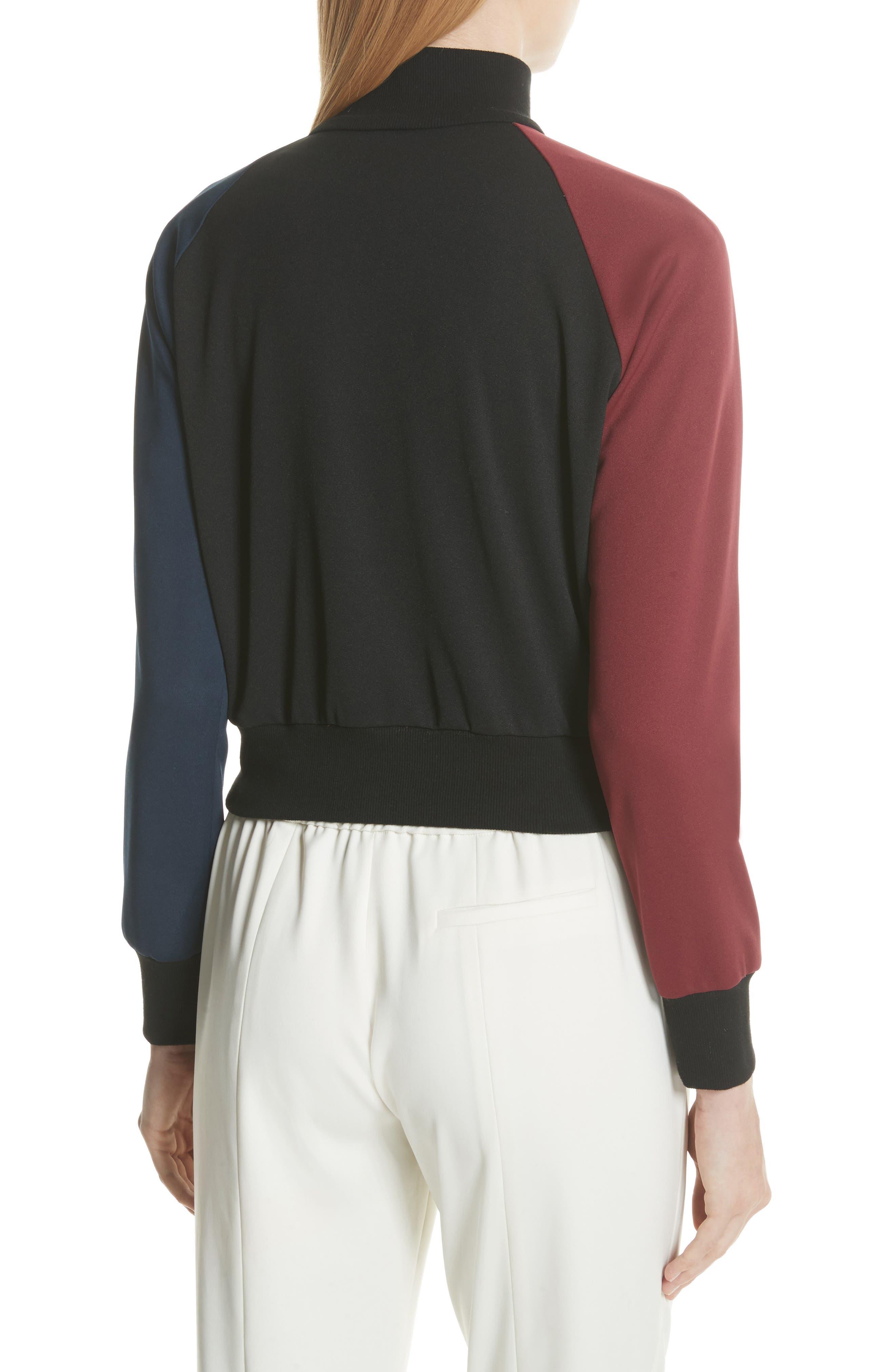 Colorblock Zip Sweatshirt,                             Alternate thumbnail 3, color,                             Bordeaux/ Navy
