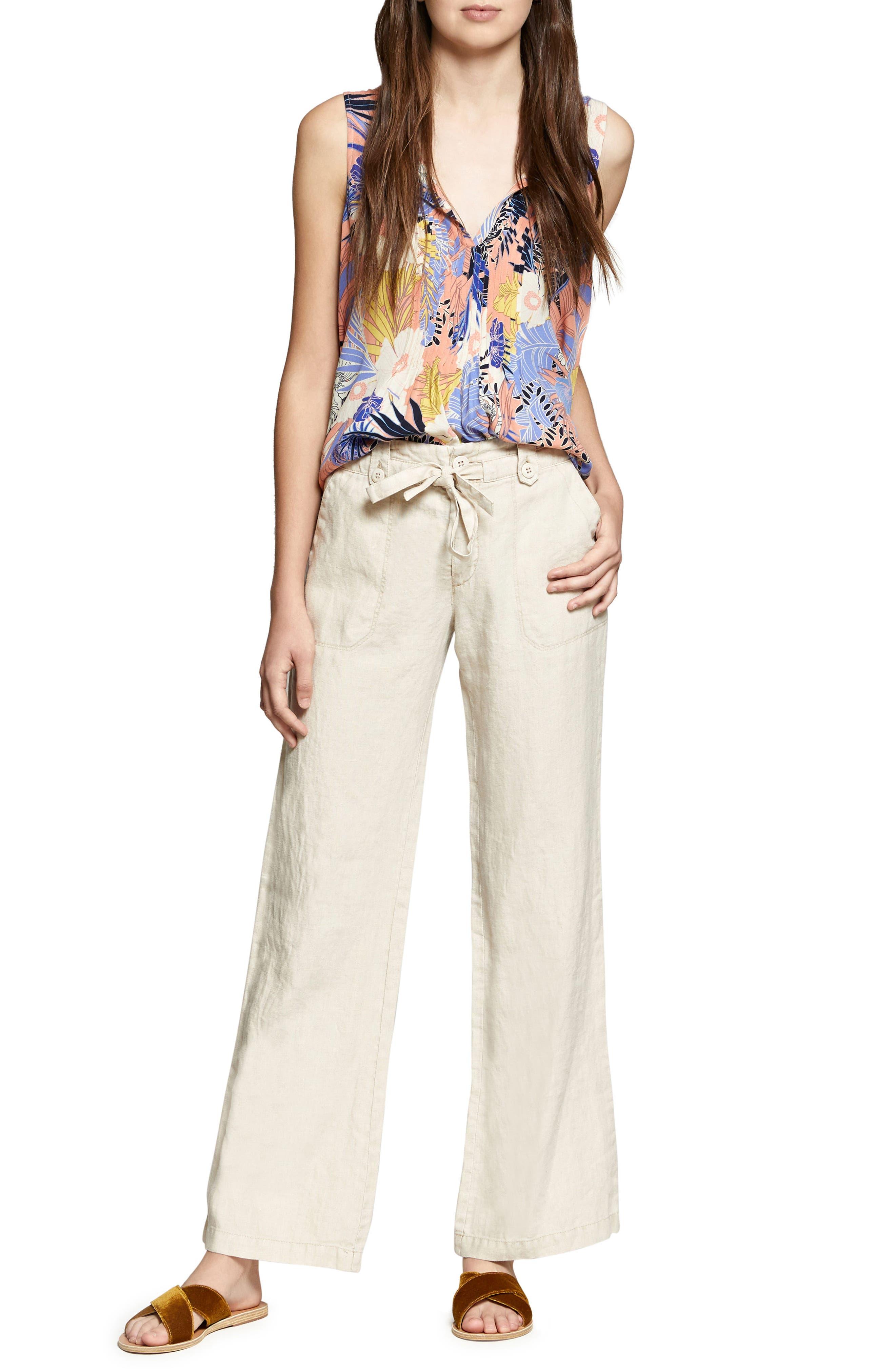 Shore Line Wide Leg Linen Pants,                             Alternate thumbnail 4, color,                             Desert Sand
