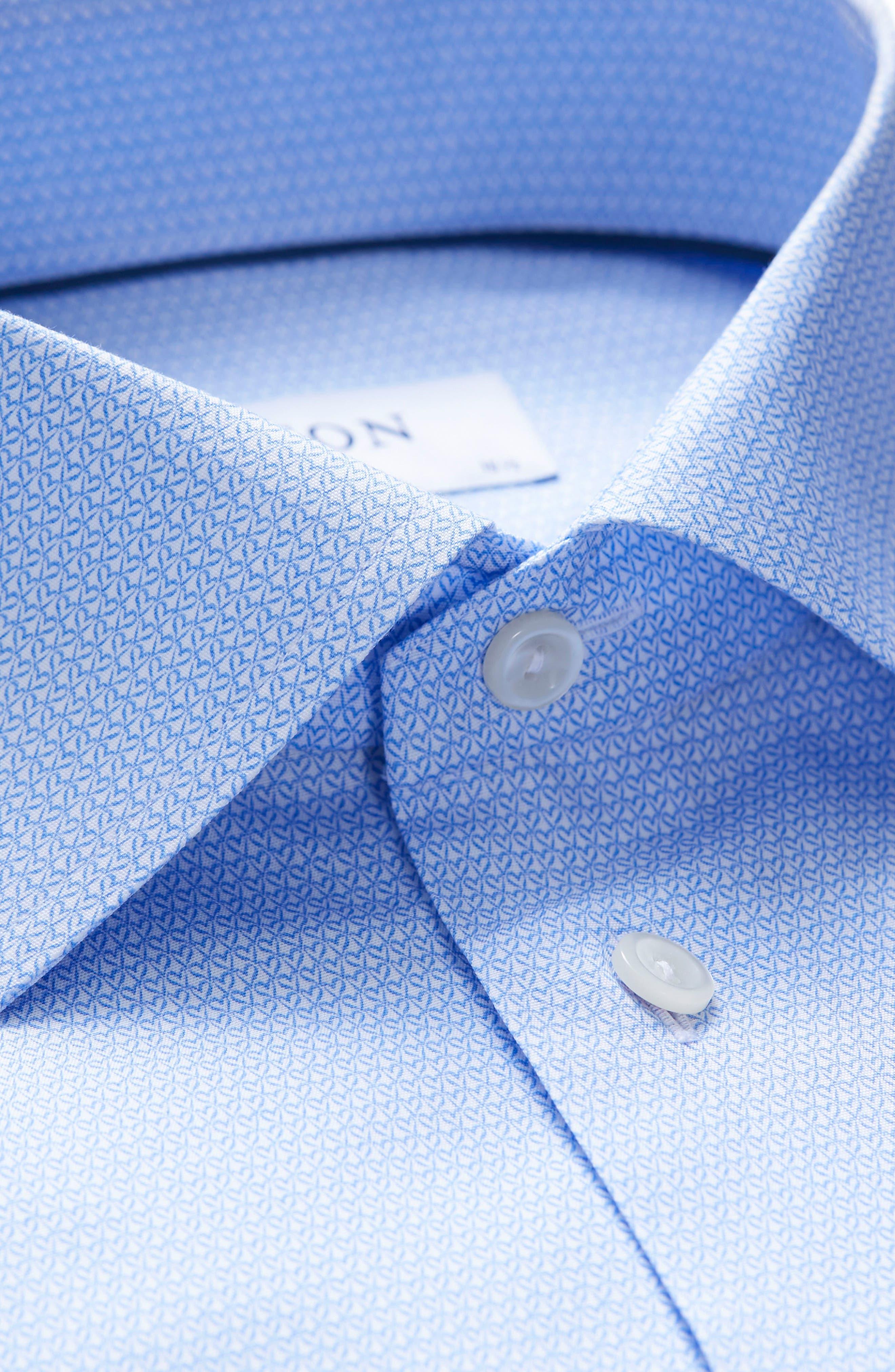Slim Fit Print Dress Shirt,                             Alternate thumbnail 2, color,                             Blue