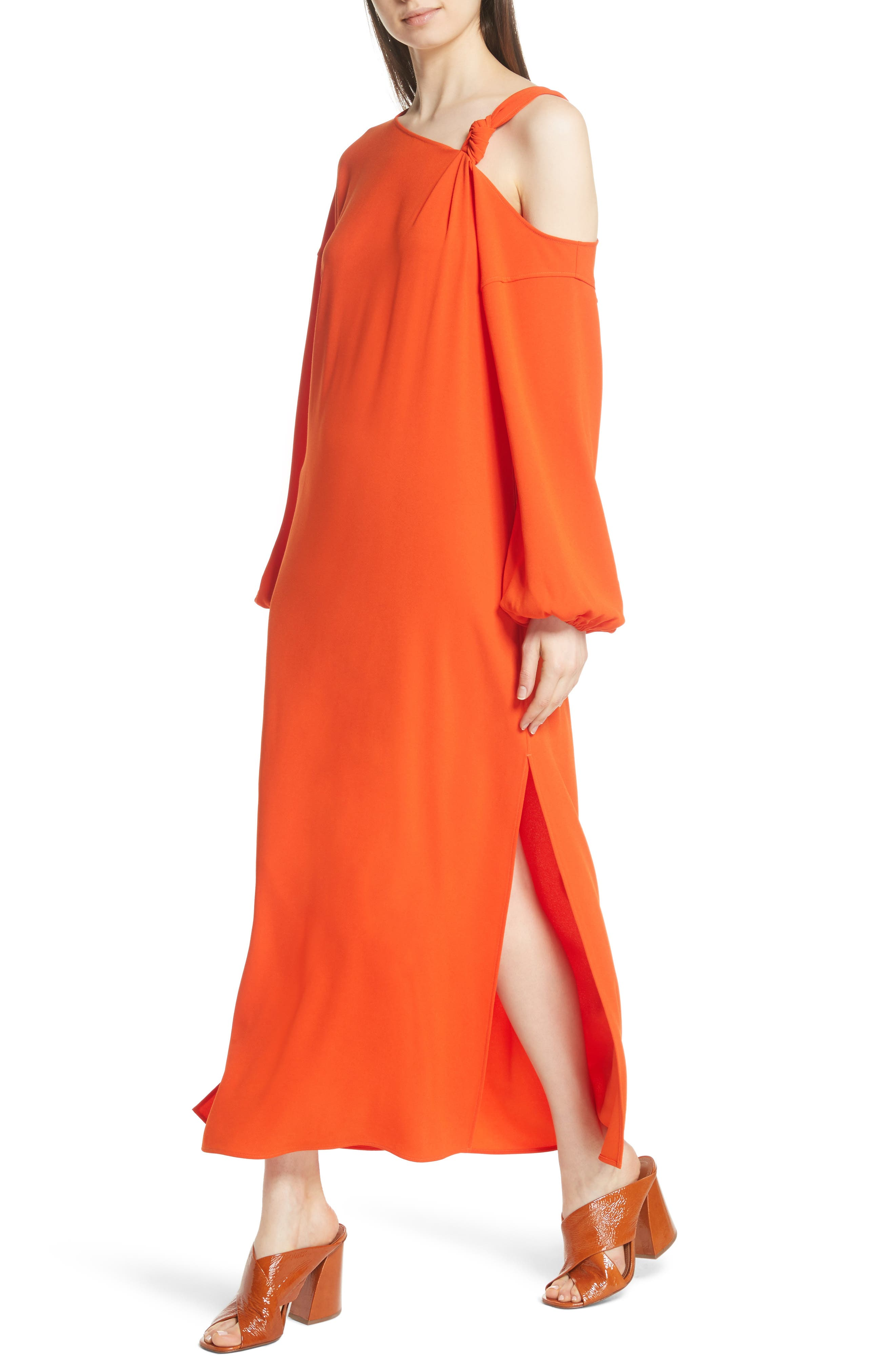 Shontae One-Shoulder Maxi Dress,                             Alternate thumbnail 5, color,                             Tangerine