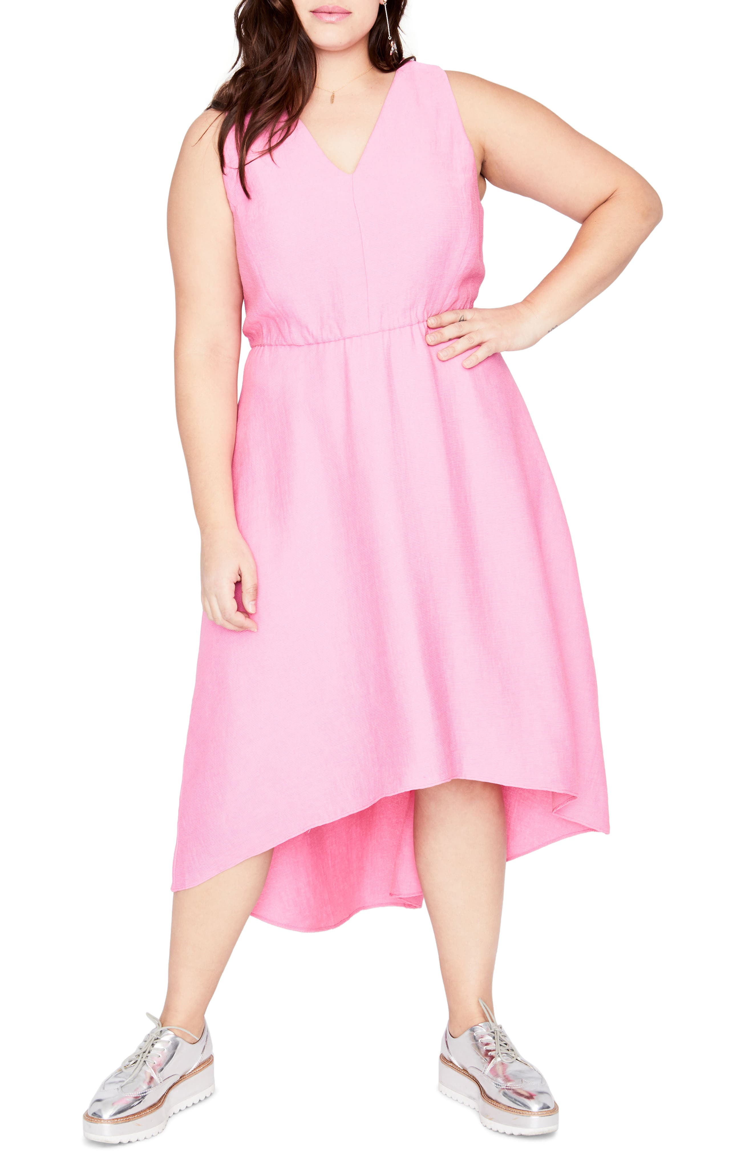 Flutter Drape Dress,                         Main,                         color, Cosmic Pink
