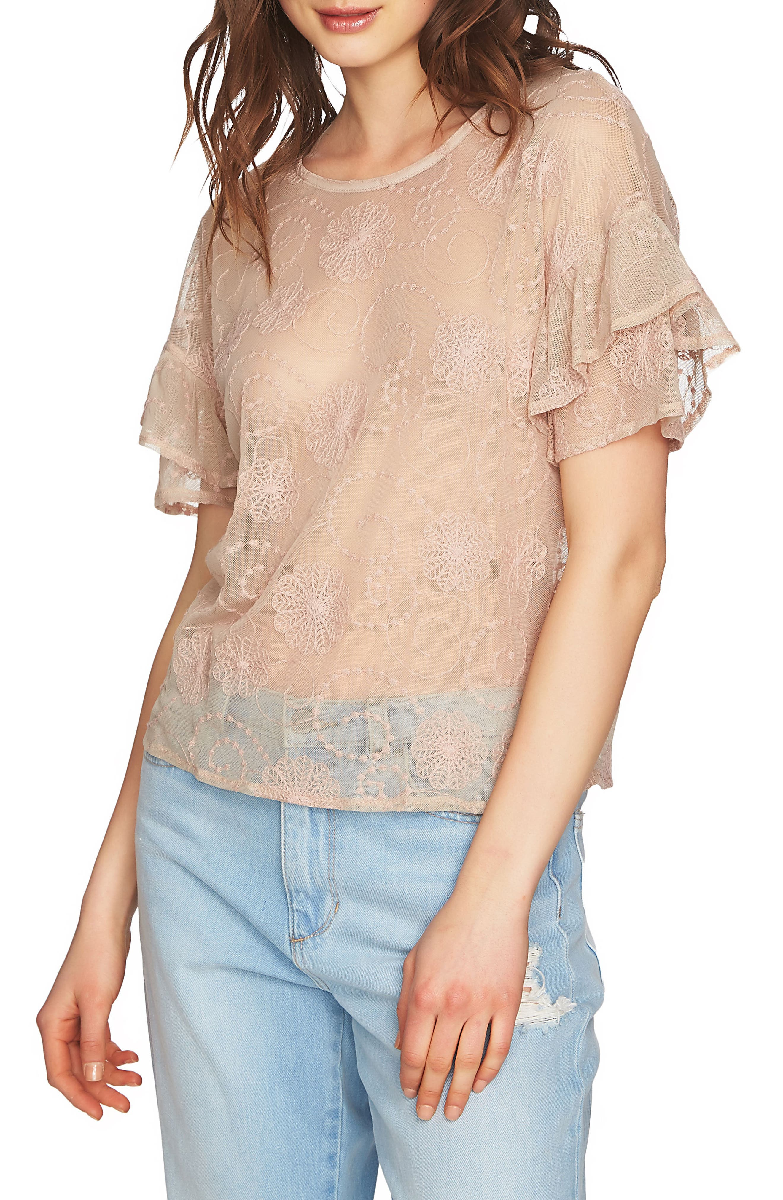Embroidered Ruffle Sleeve Top,                         Main,                         color, Sheer Blush